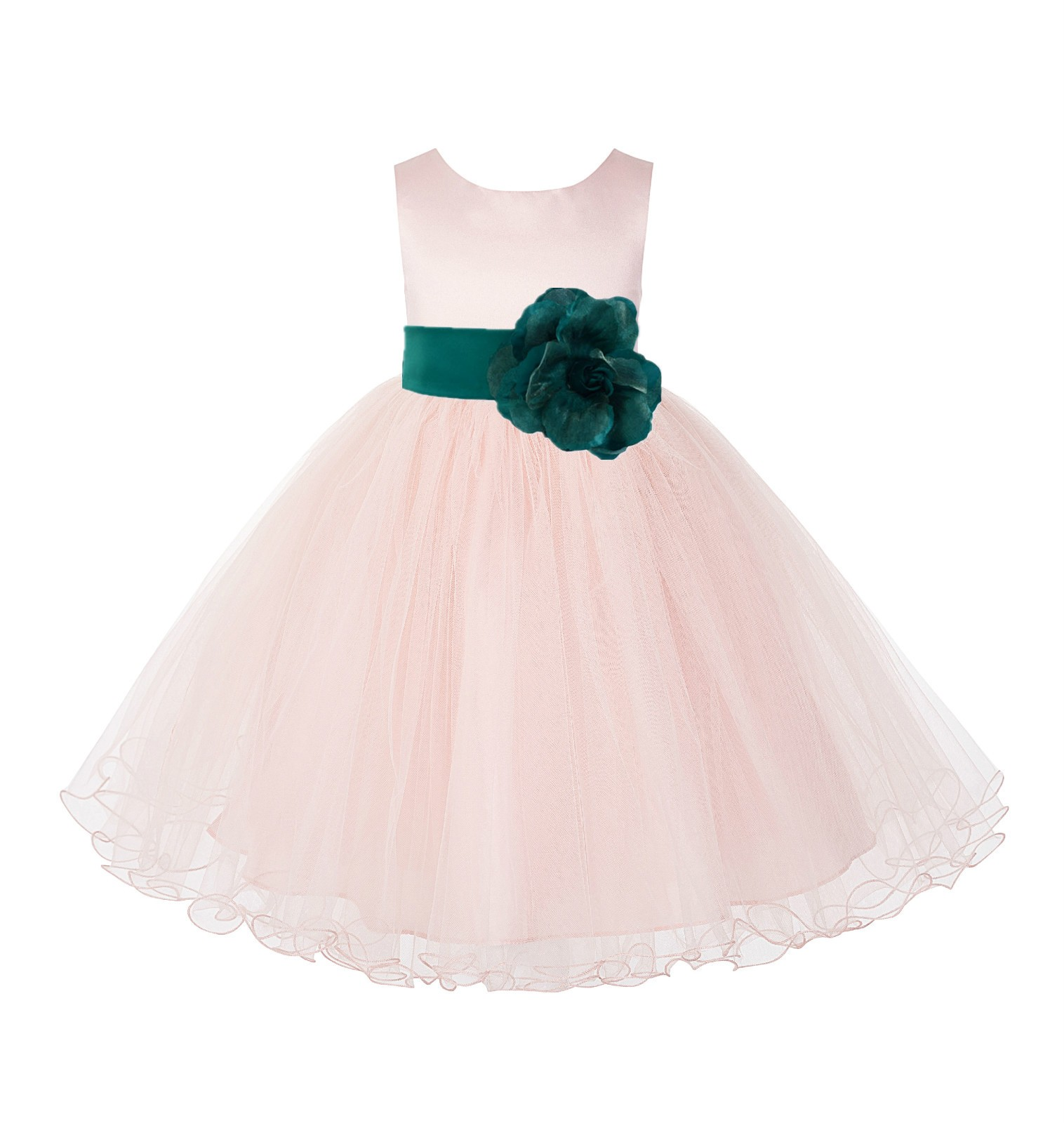 Blush Pink / Jade Tulle Rattail Edge Flower Girl Dress Pageant Recital 829S