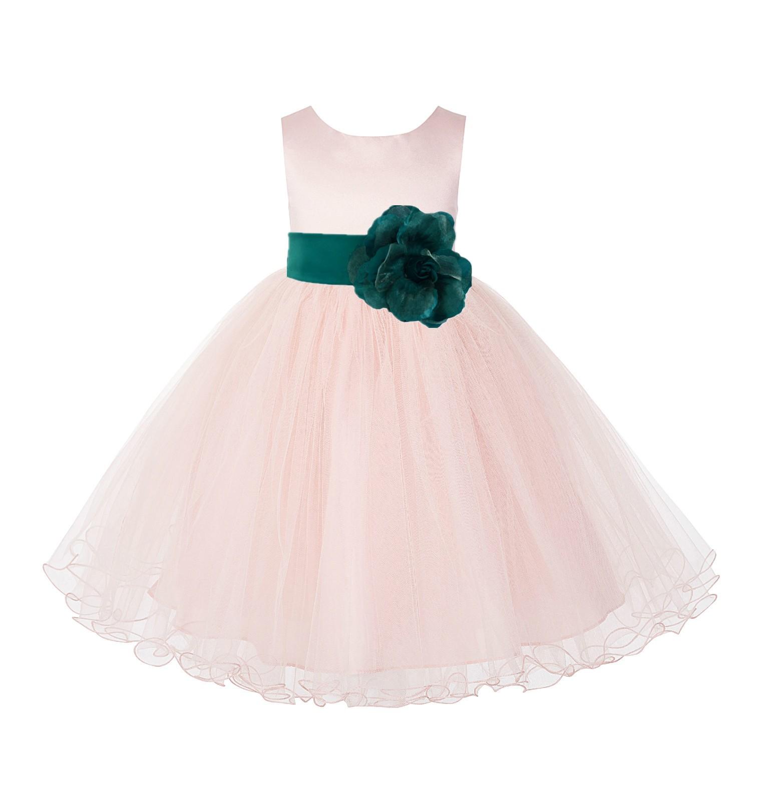 Blush PInk / Jade Tulle Rattail Edge Flower Girl Dress Wedding Bridesmaid 829T