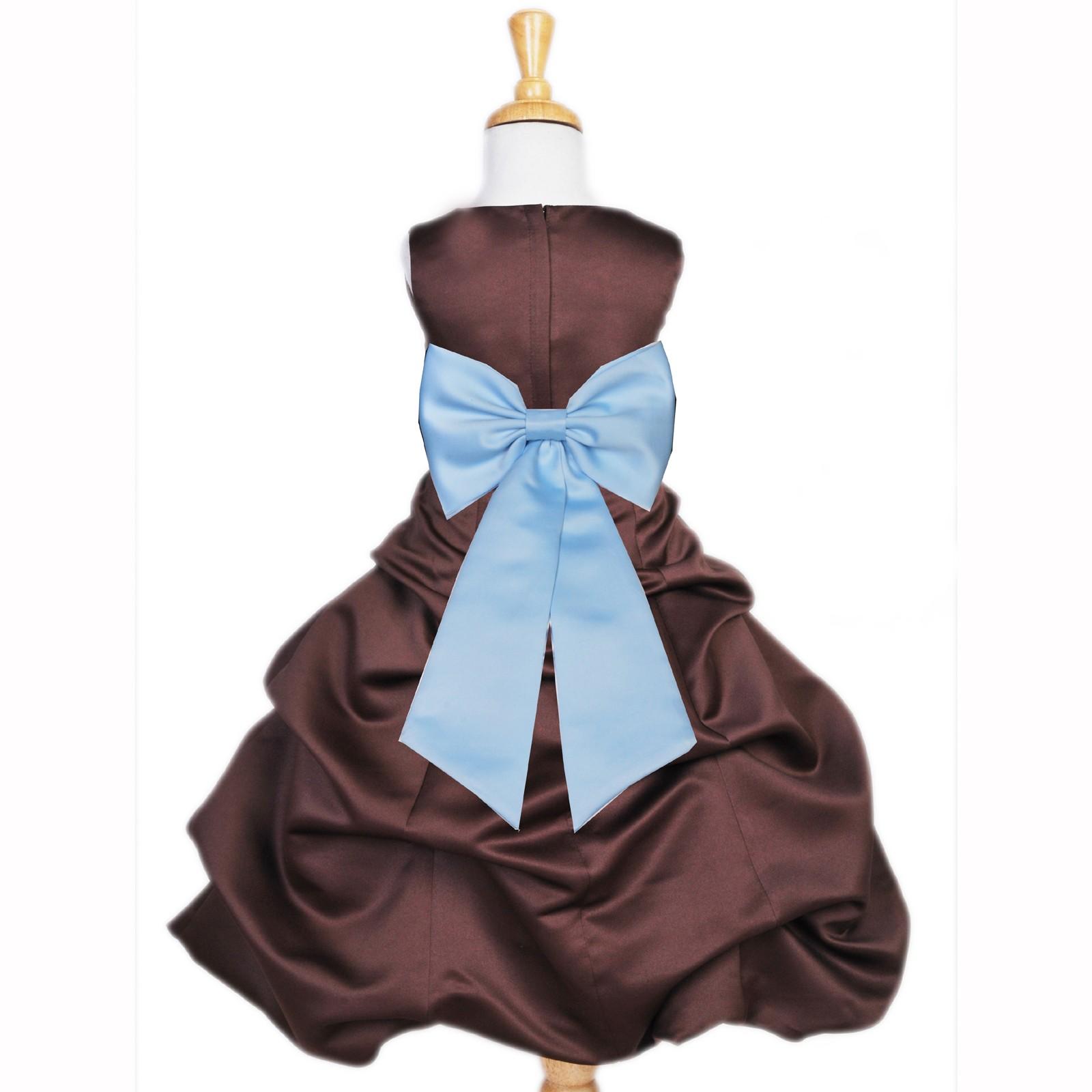 d327f0d0c Brown/Sky Blue Satin Pick-Up Bubble Flower Girl Dress Occasions 808T ...