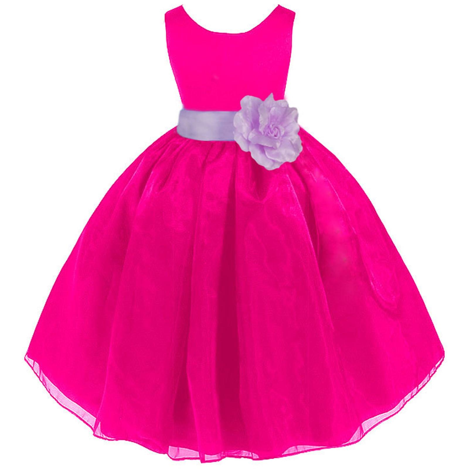 Fuchsialilac Satin Bodice Organza Skirt Flower Girl Dress 841t