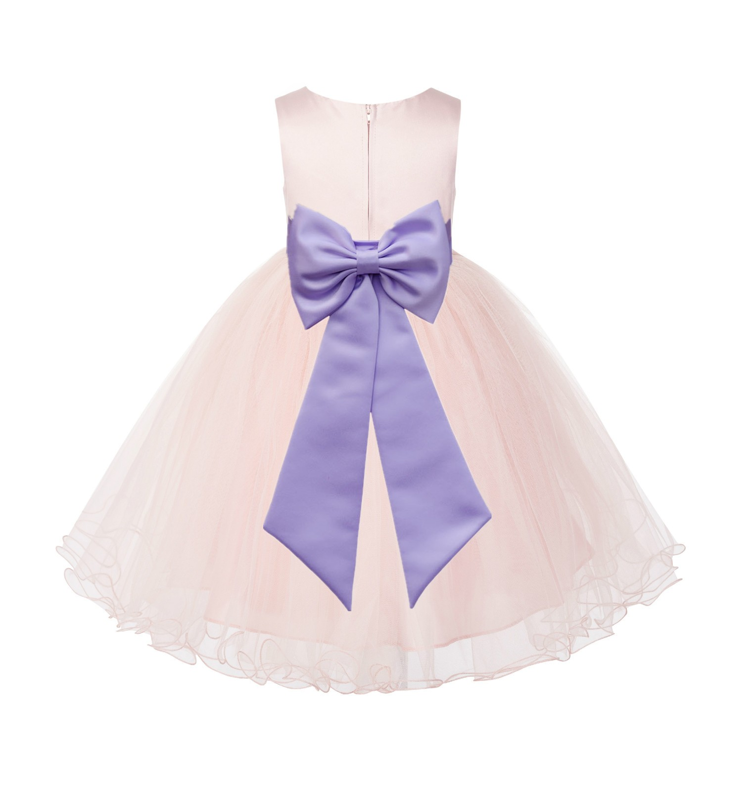 Blush PInk / Lilac Tulle Rattail Edge Flower Girl Dress Wedding Bridesmaid 829T