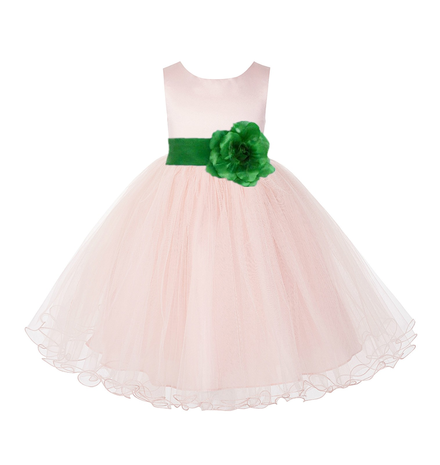 Blush Pink / Lime Tulle Rattail Edge Flower Girl Dress Pageant Recital 829S