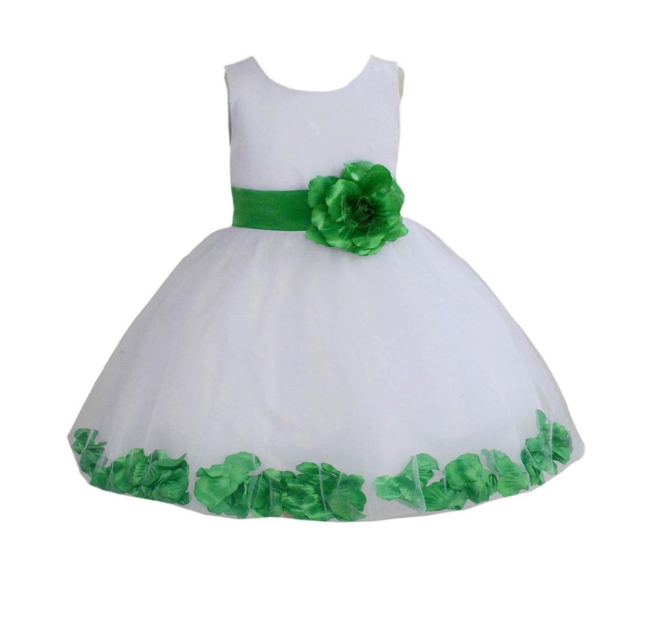 White/ Kelly Lime Green Rose Petals Tulle Flower Girl Dress Wedding 305T