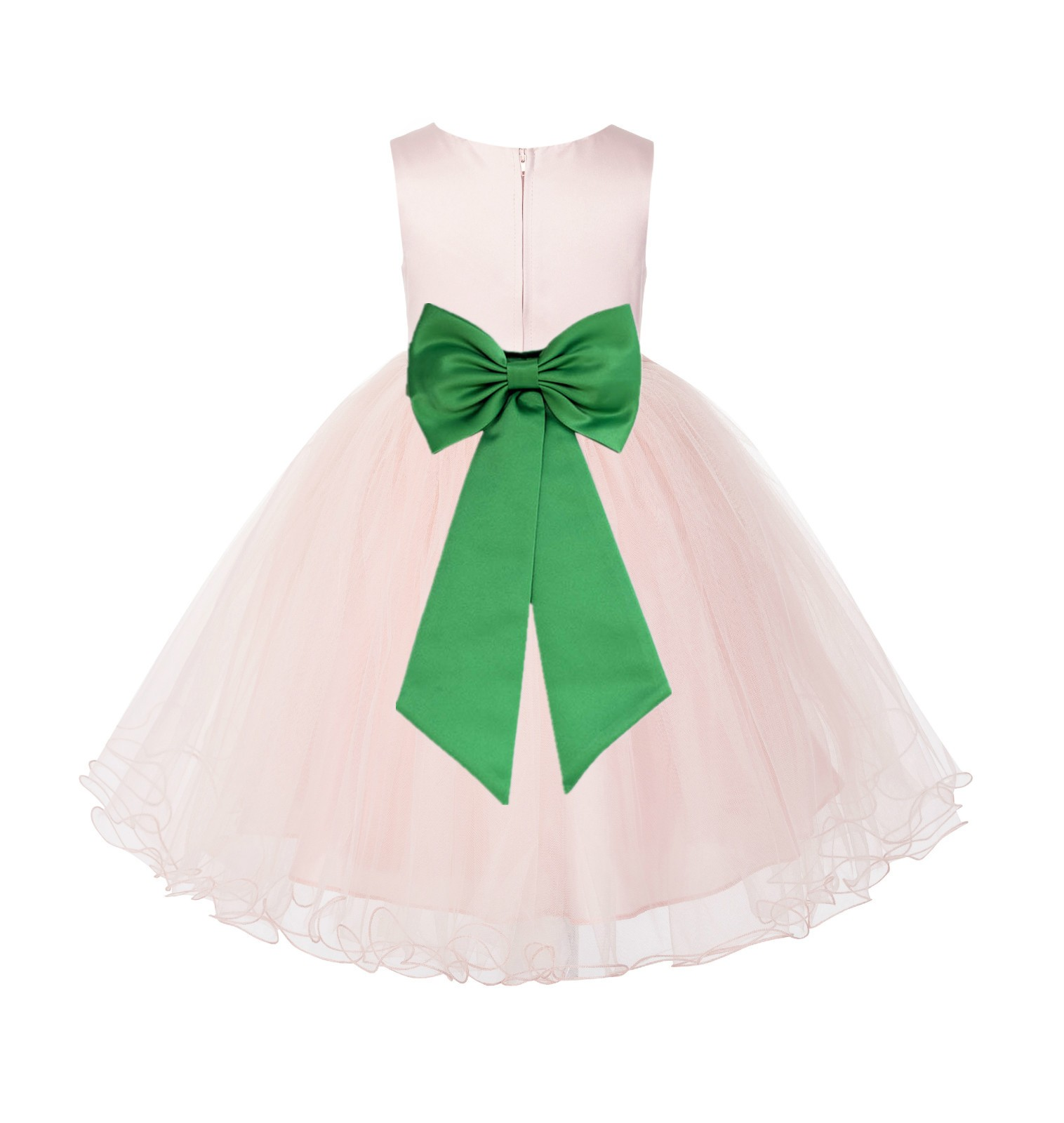 Blush PInk / Lime Tulle Rattail Edge Flower Girl Dress Wedding Bridesmaid 829T
