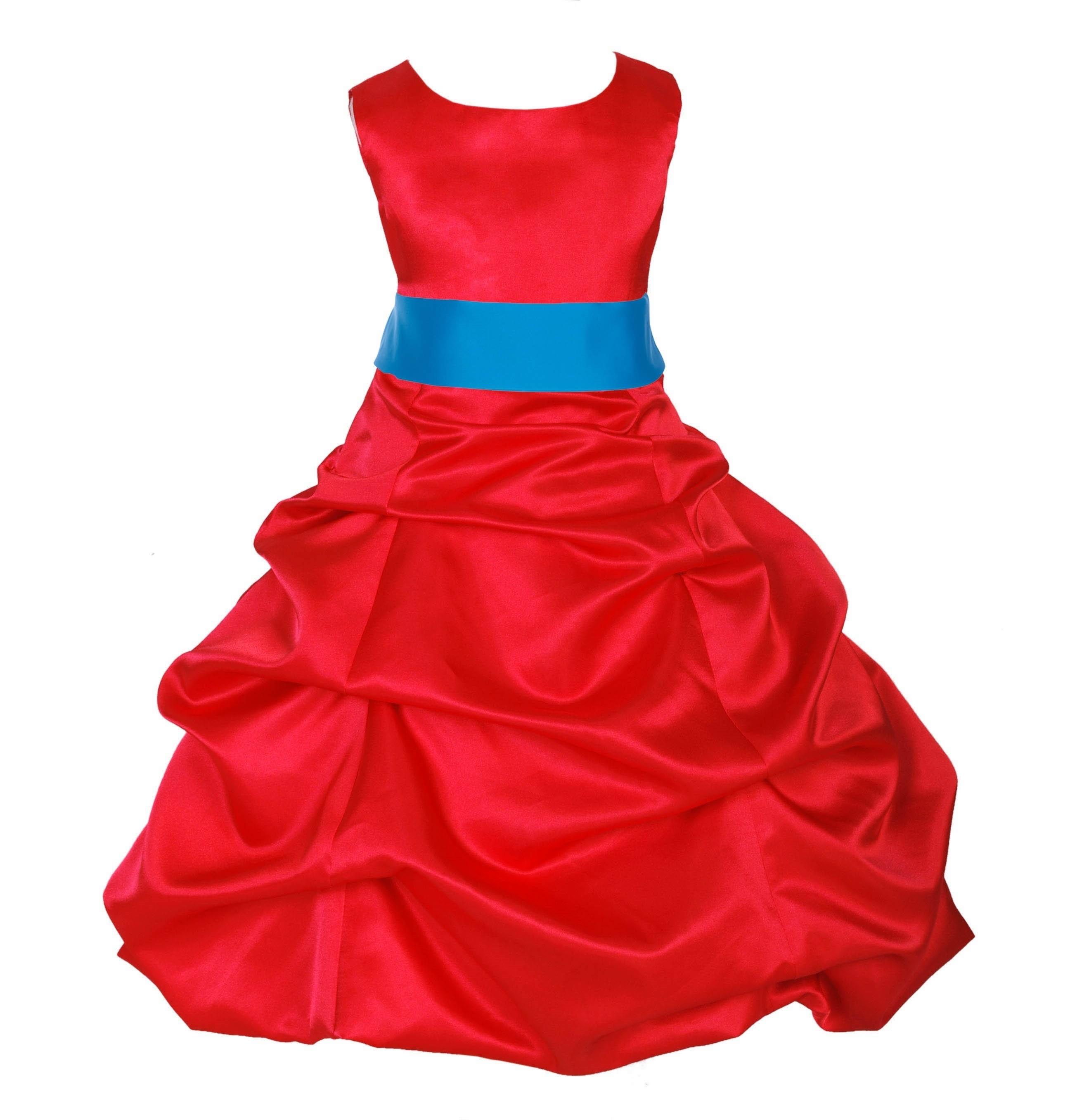 Red/Malibu Satin Pick-Up Bubble Flower Girl Dress Christmas 806S