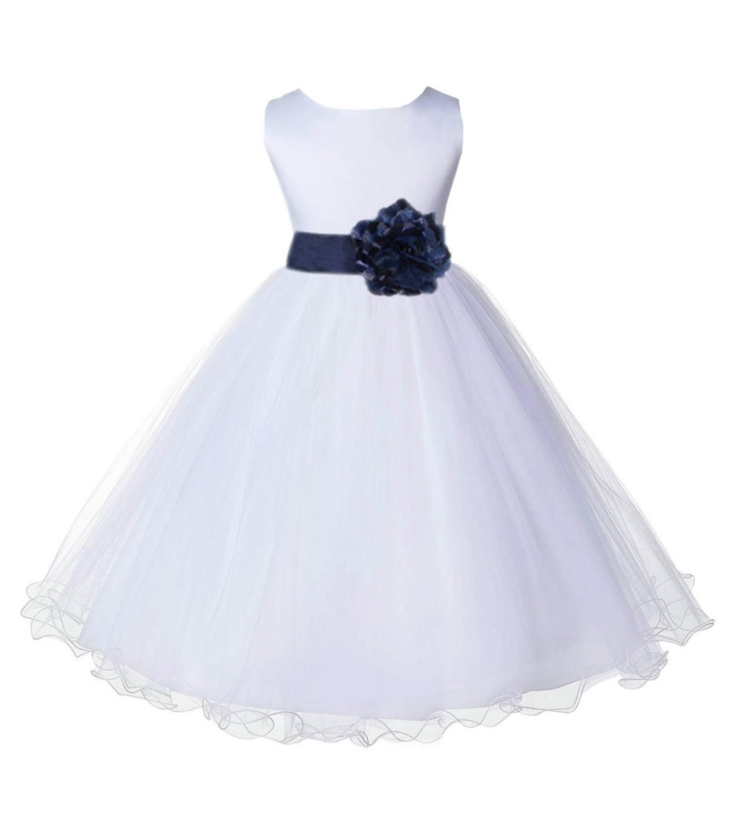 White/Marine Tulle Rattail Edge Flower Girl Dress Wedding Bridal 829S