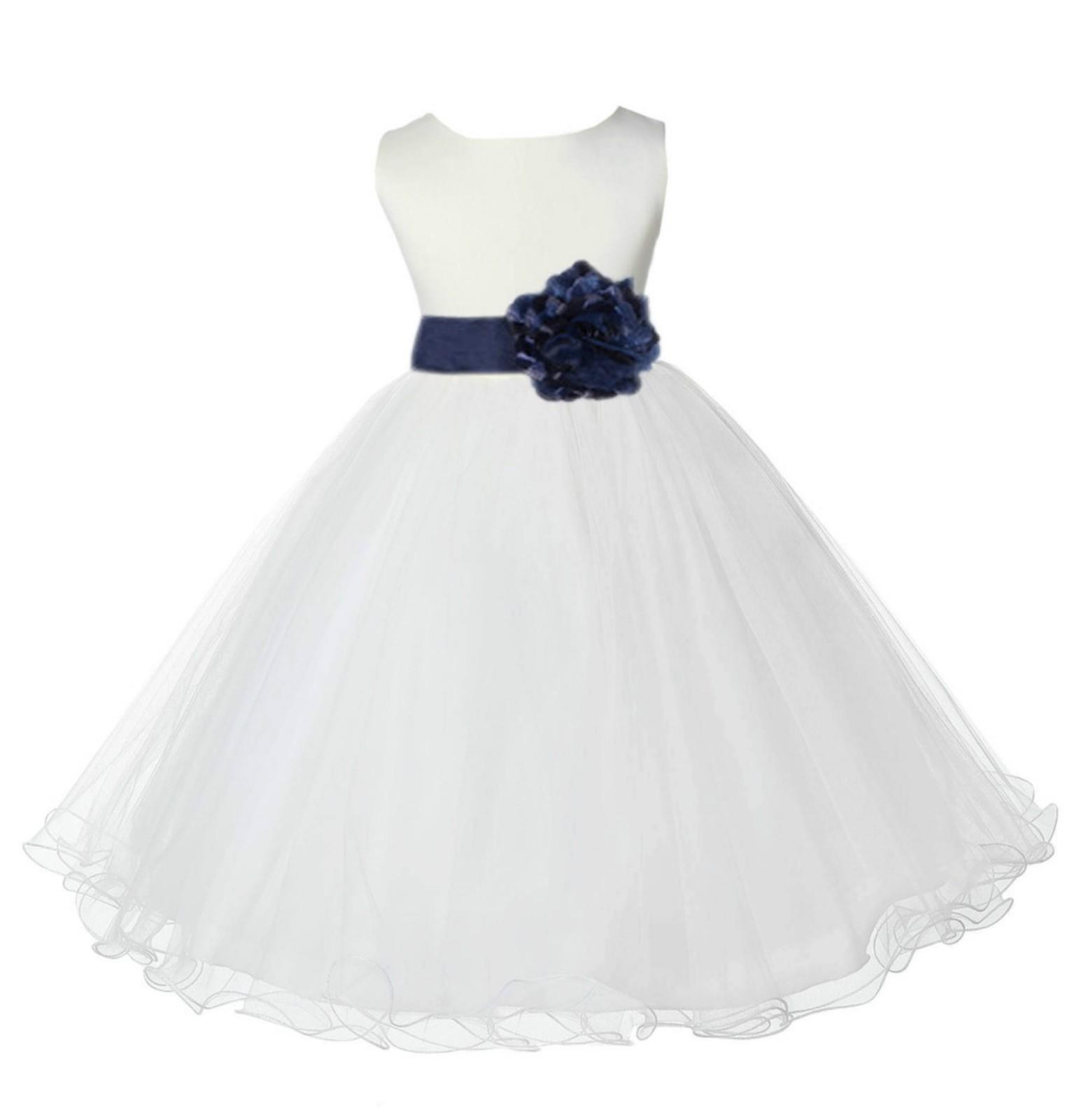 Ivory/Marine Tulle Rattail Edge Flower Girl Dress Pageant Recital 829S