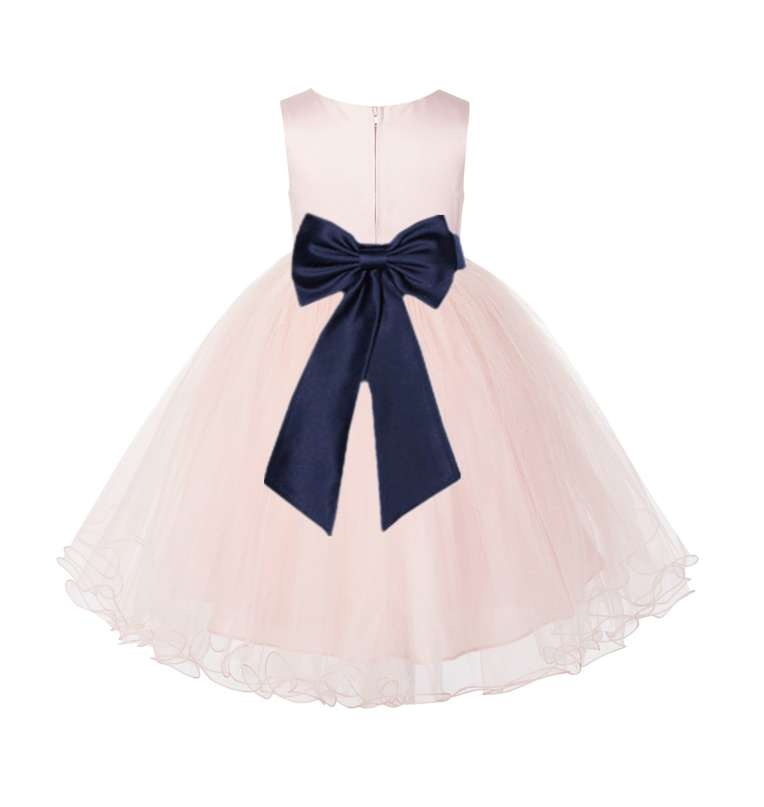 Blush PInk / Marine Tulle Rattail Edge Flower Girl Dress Wedding Bridesmaid 829T