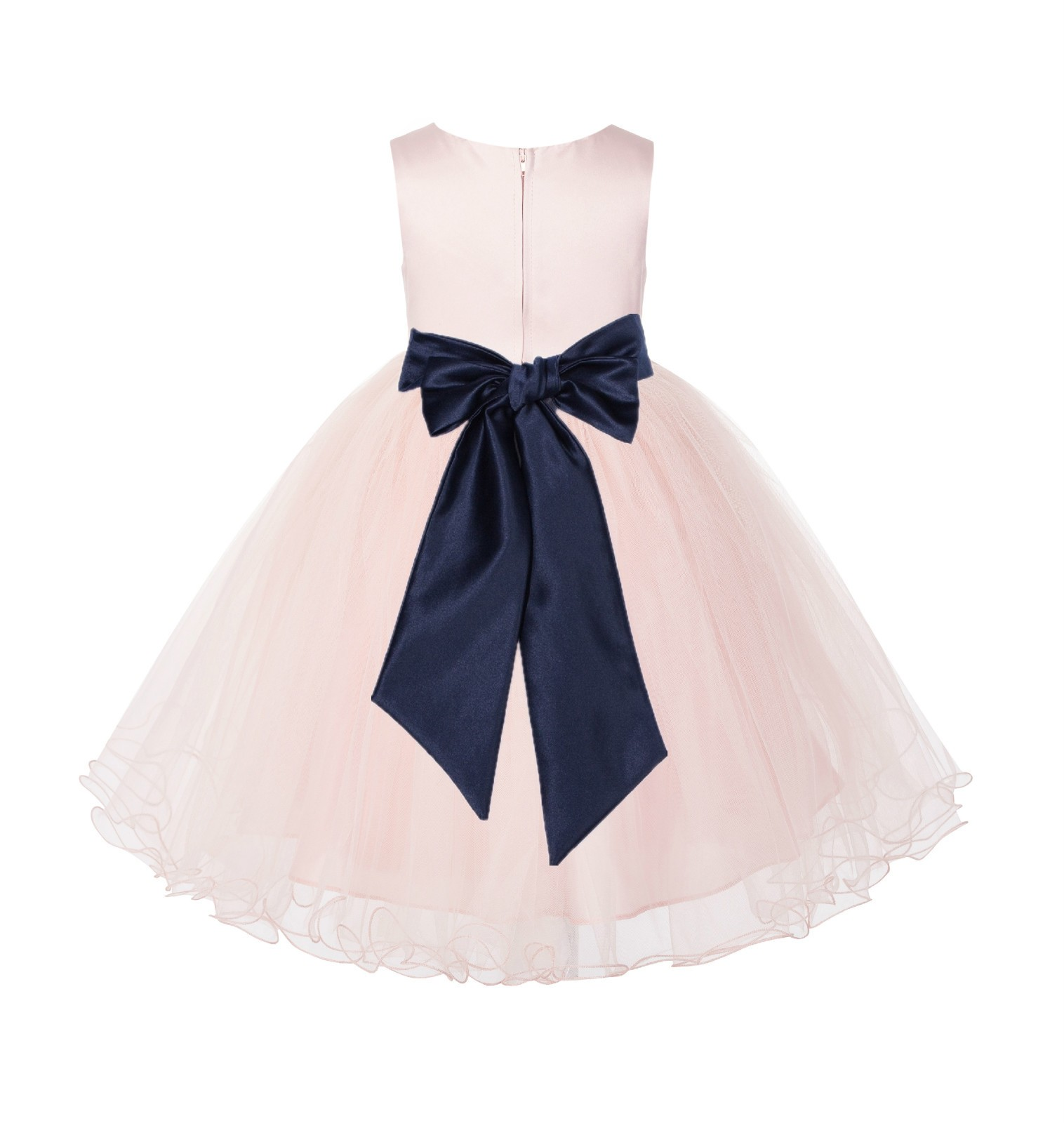 Blush Pink / Marine Tulle Rattail Edge Flower Girl Dress Pageant Recital 829S