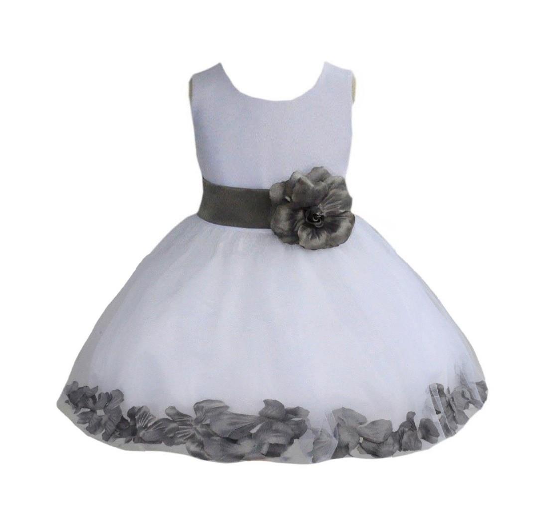 White/ Mercury Rose Petals Tulle Flower Girl Dress Wedding 305T