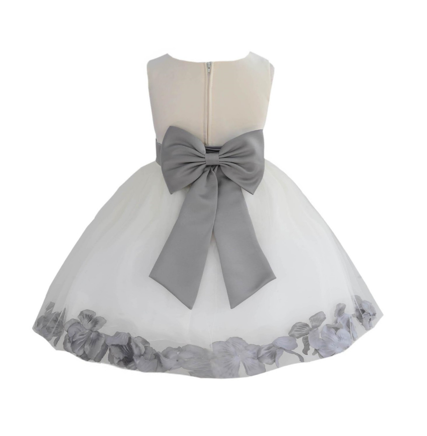 Ivory/ Mercury Rose Petals Tulle Flower Girl Dress Pageant 305T