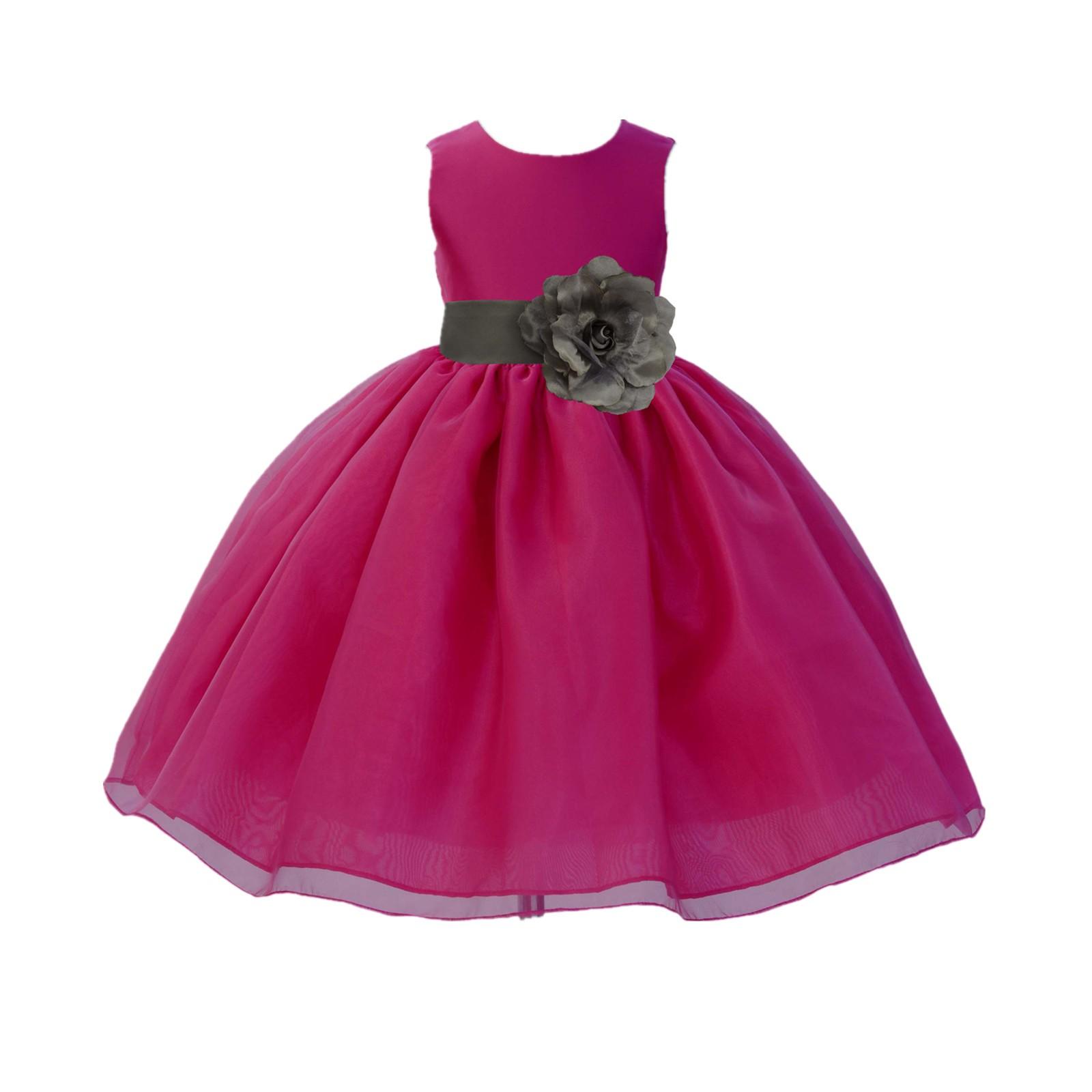 Fuchsia / Mercury Grey Satin Bodice Organza Skirt Flower Girl Dress ...