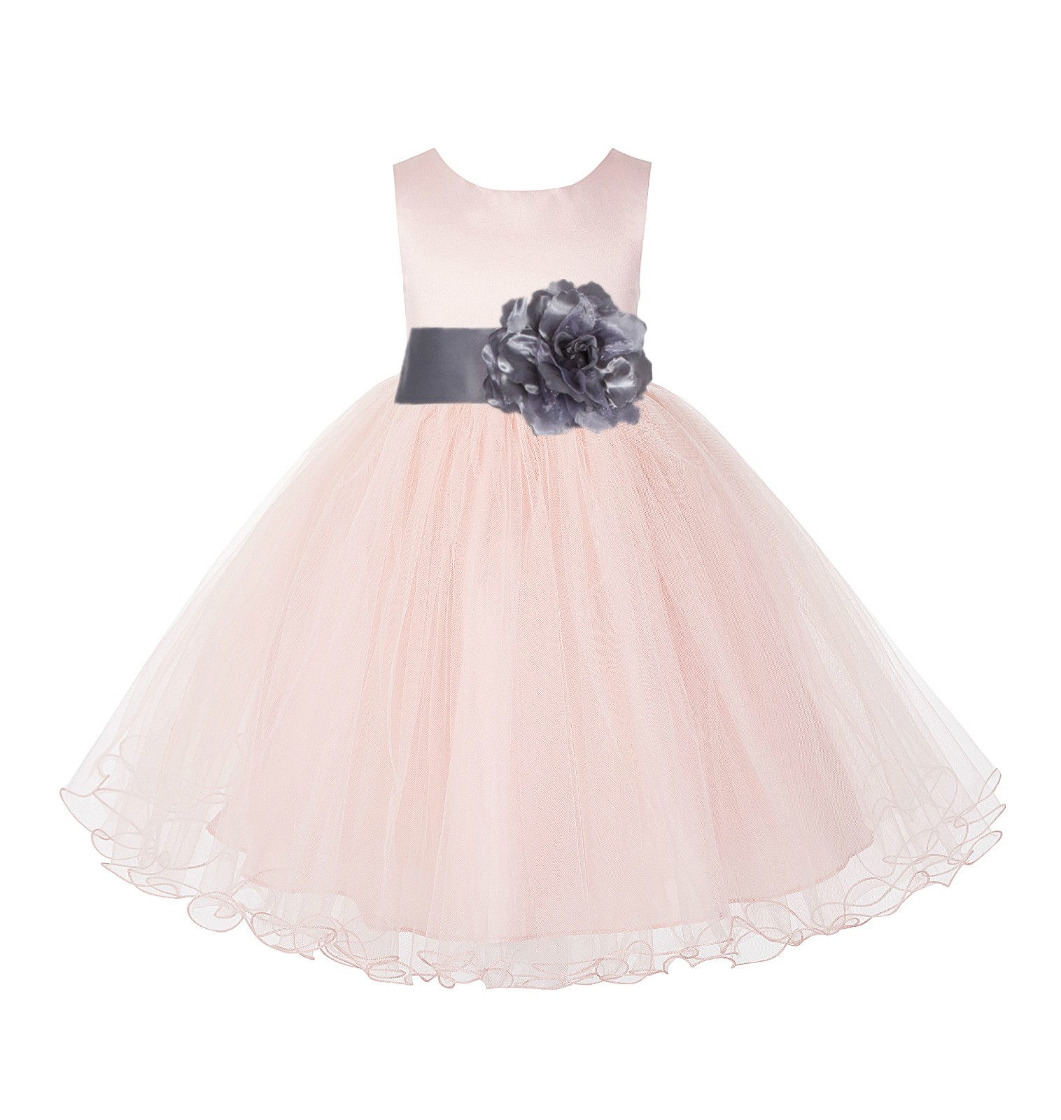 Blush Pink / Mercury Tulle Rattail Edge Flower Girl Dress Pageant Recital 829S