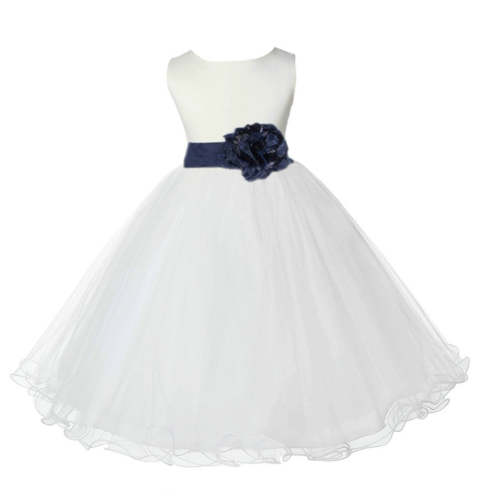 Ivory/Midnight Tulle Rattail Edge Flower Girl Dress Pageant Recital 829S