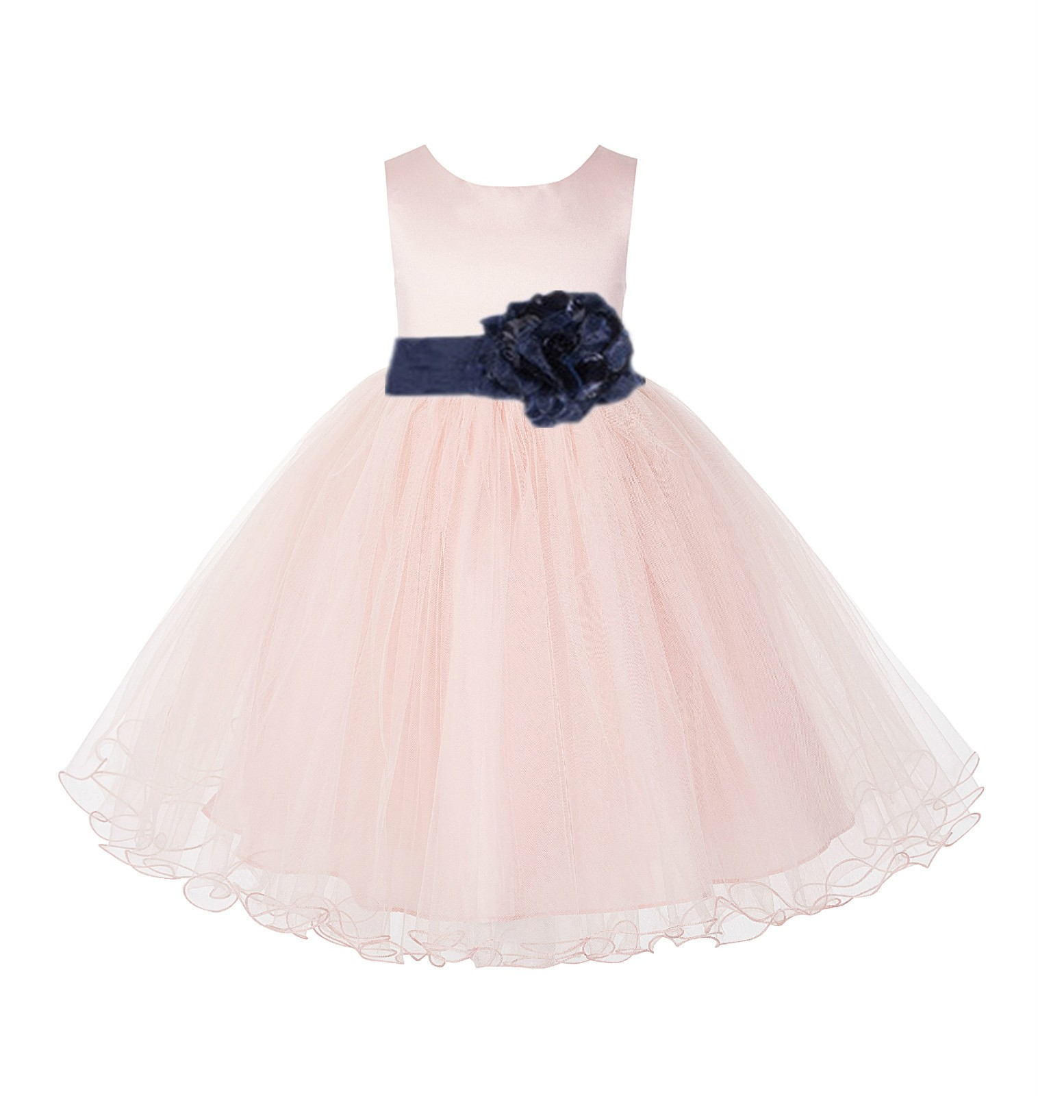 Blush Pink / Midnight Tulle Rattail Edge Flower Girl Dress Pageant Recital 829S