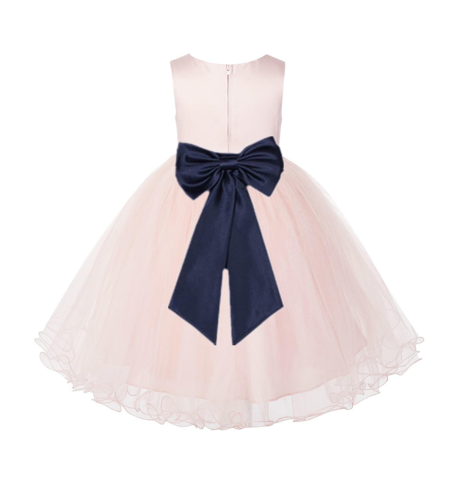 Blush PInk / Midnight Tulle Rattail Edge Flower Girl Dress Wedding Bridesmaid 829T