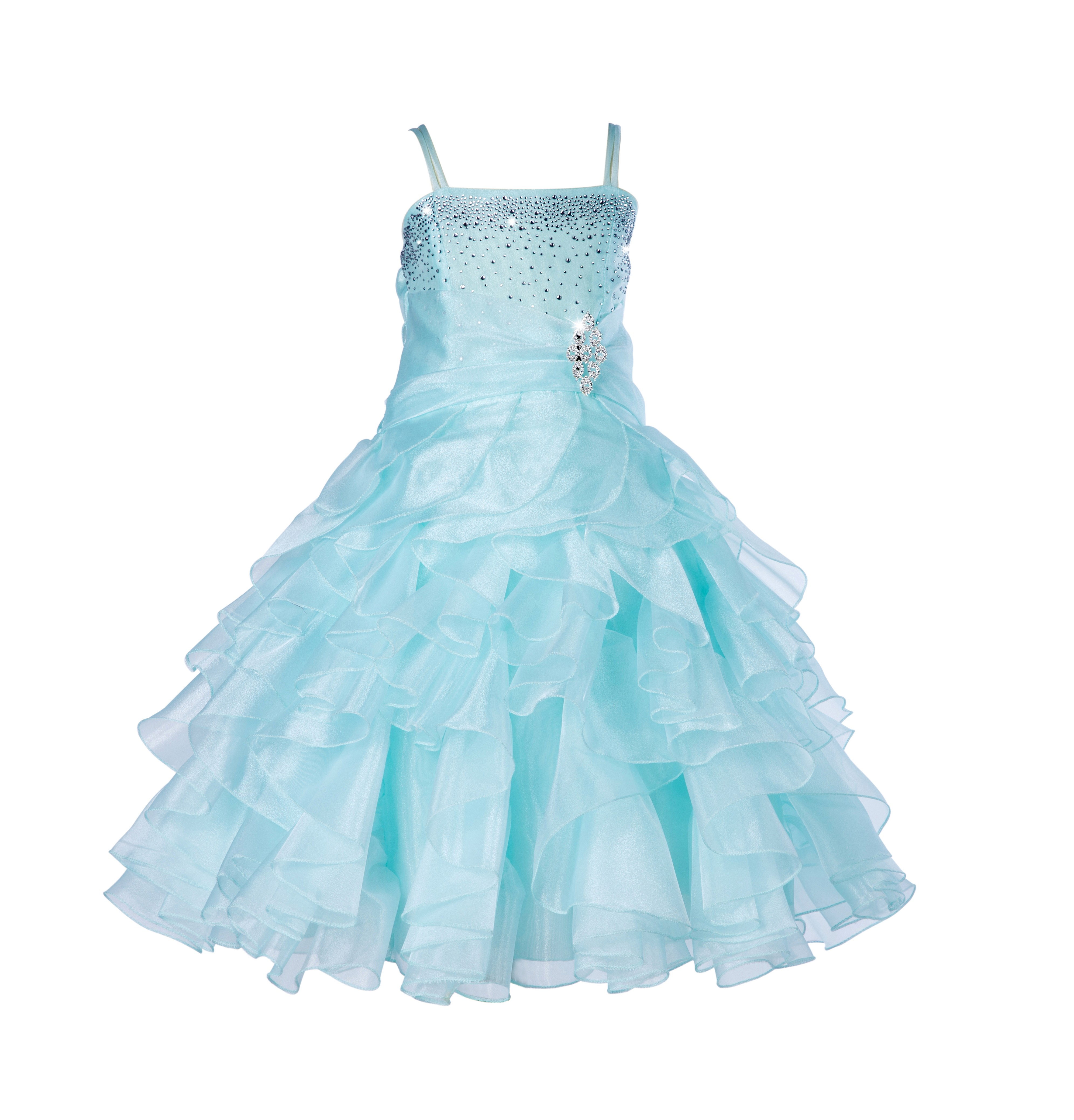 Mint Rhinestone Organza Layers Flower Girl Dress Elegant Stunning 164S