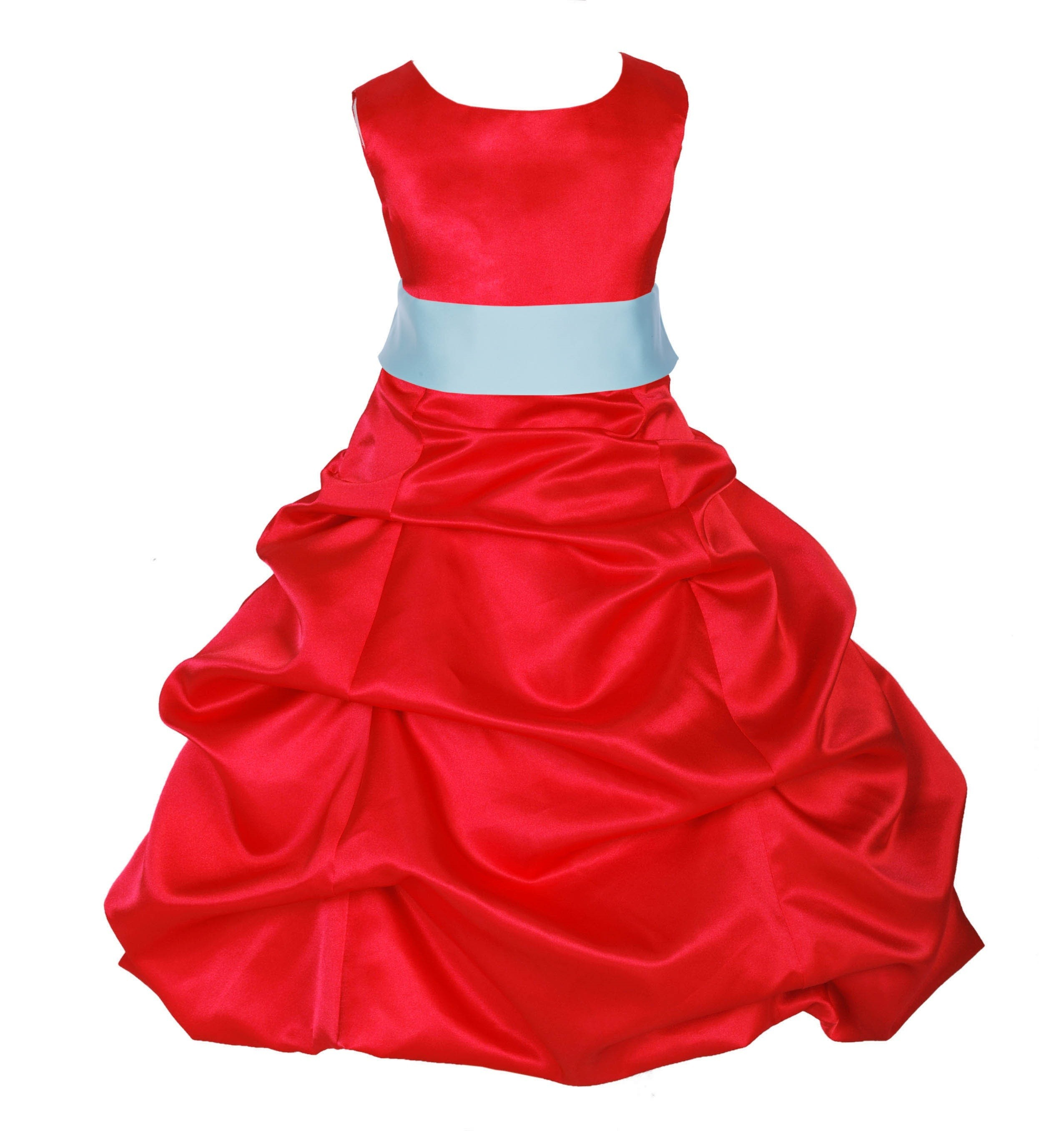 Red/Mint Satin Pick-Up Bubble Flower Girl Dress Christmas 806S