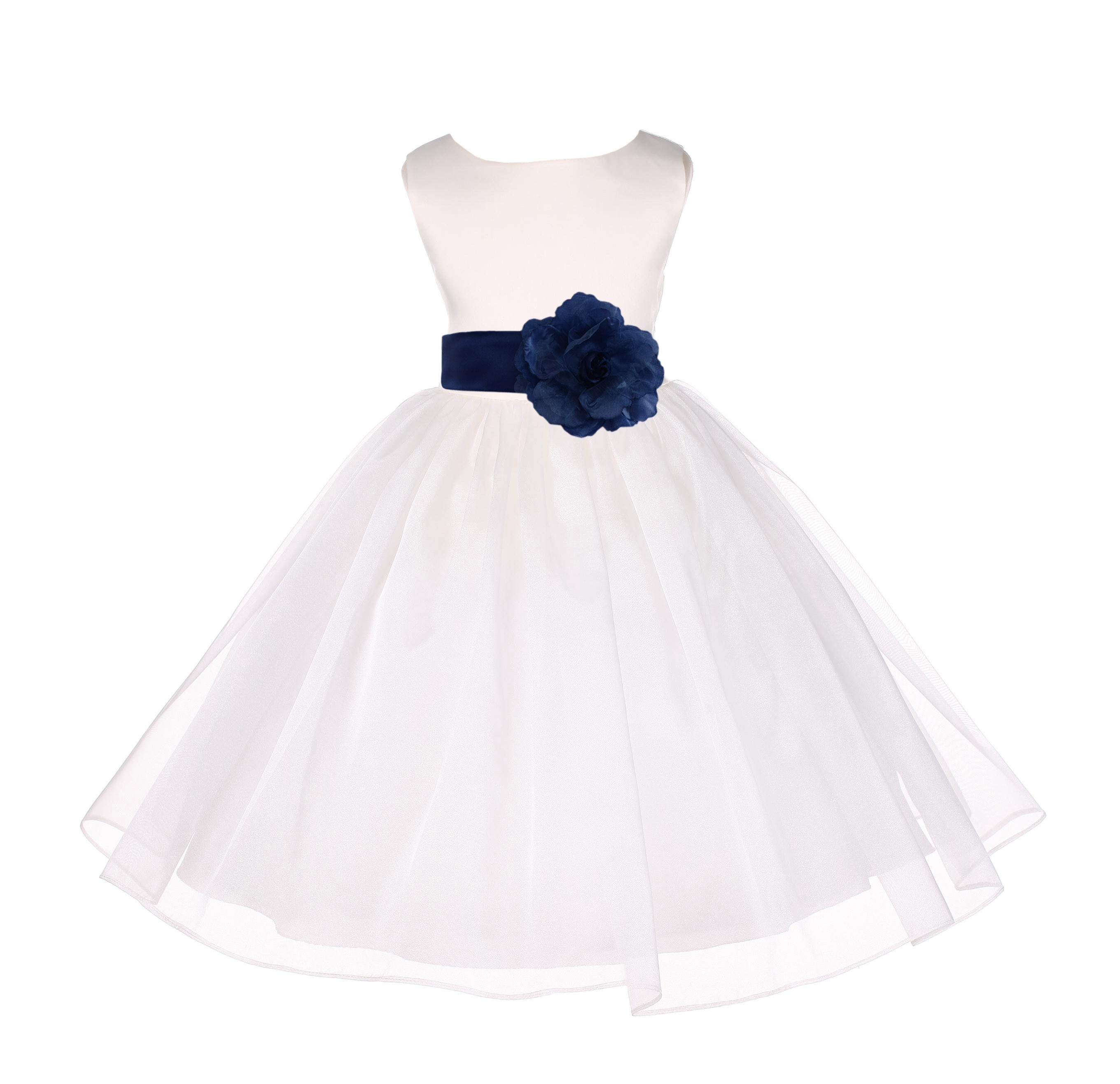 809bb1cd7 Ivory Navy Satin Bodice Organza Skirt Flower Girl Dress 841S - Ivory ...