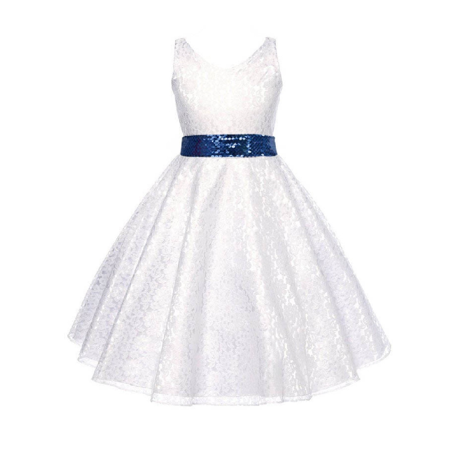 3bee904cea White Floral Lace Overlay V-Neck Navy Sequin Flower Girl Dress 166mh ...