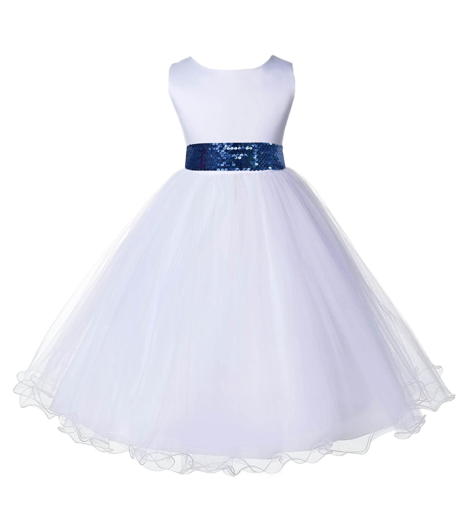 White tulle rattail edge navy sequin sash flower girl for How to ship a wedding dress usps