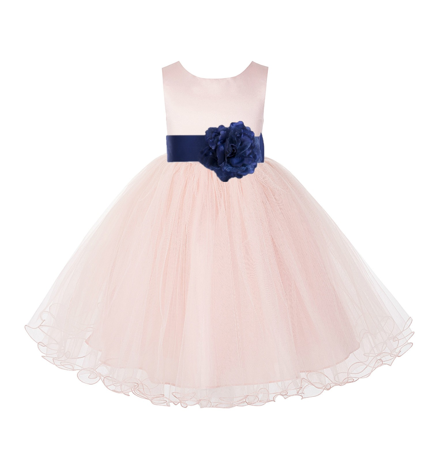 Blush Pink / Navy Tulle Rattail Edge Flower Girl Dress Pageant Recital 829S