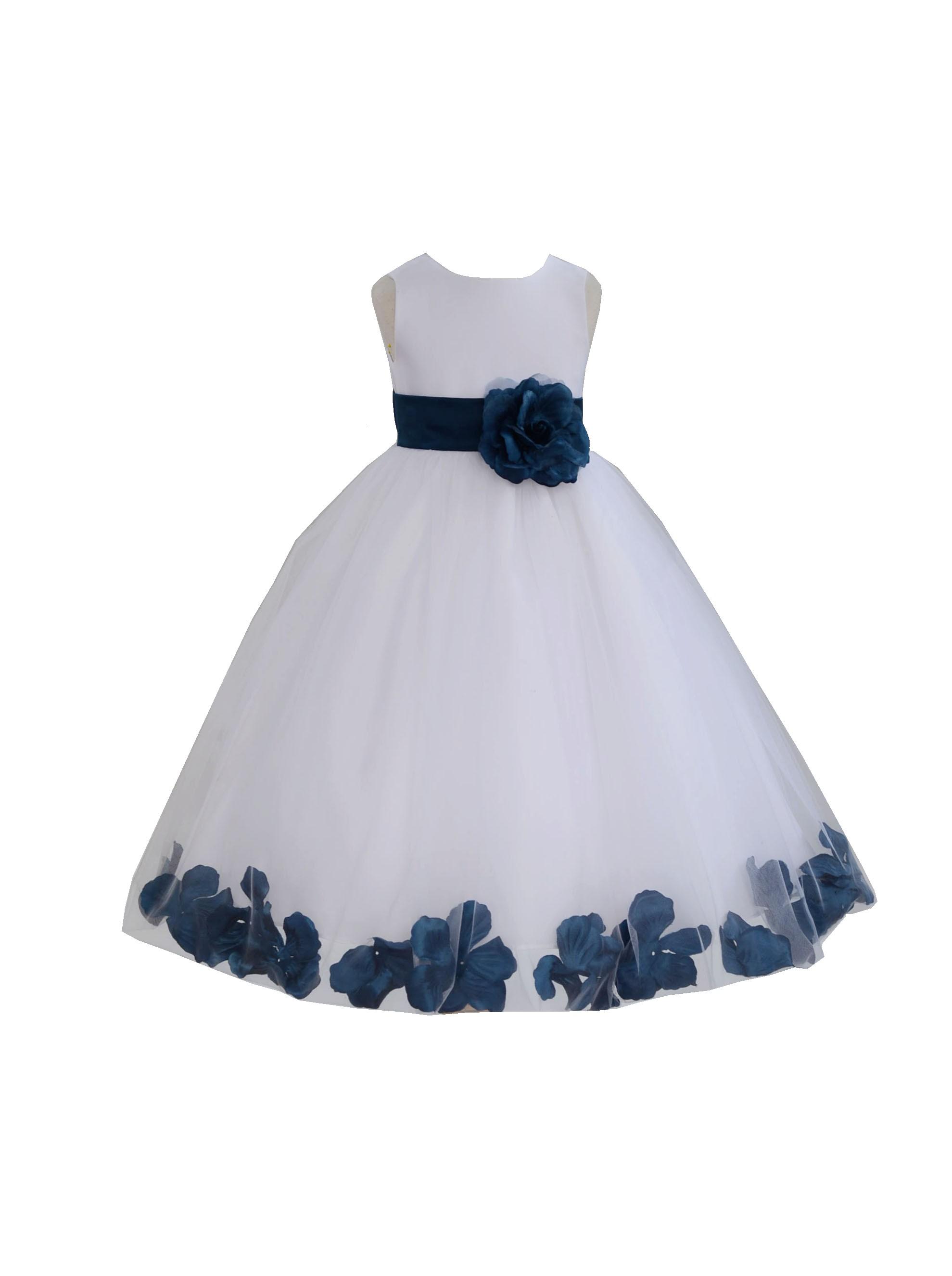 Whitenavy Tulle Rose Petals Flower Girl Dress Ceremonial 302a