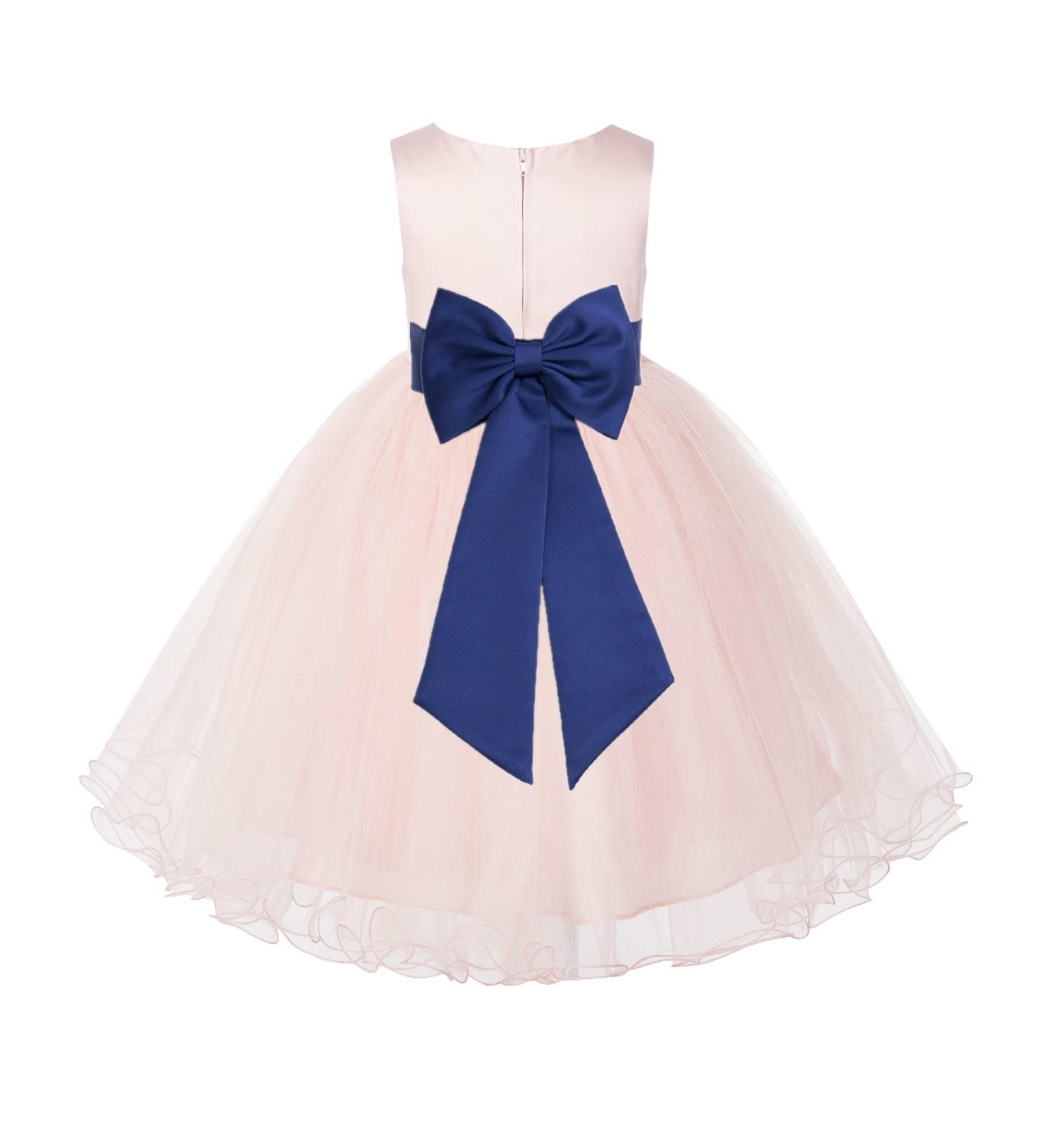 Blush PInk / Navy Tulle Rattail Edge Flower Girl Dress Wedding Bridesmaid 829T