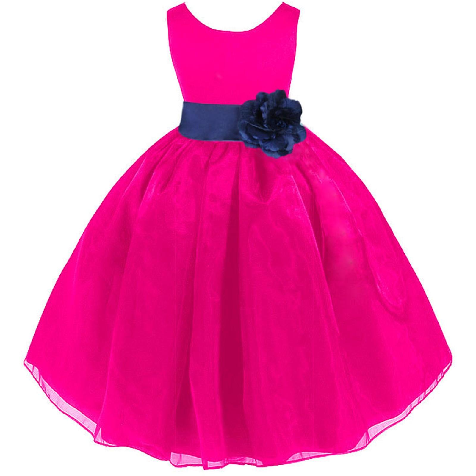 528c41181c01 Fuchsia Navy Satin Bodice Organza Skirt Flower Girl Dress 841T ...