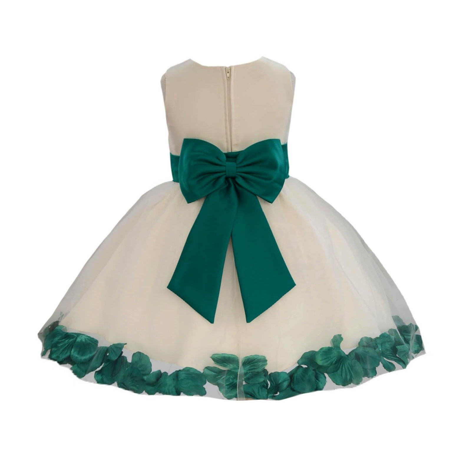 Ivory/ Oasis Rose Petals Tulle Flower Girl Dress Pageant 305T