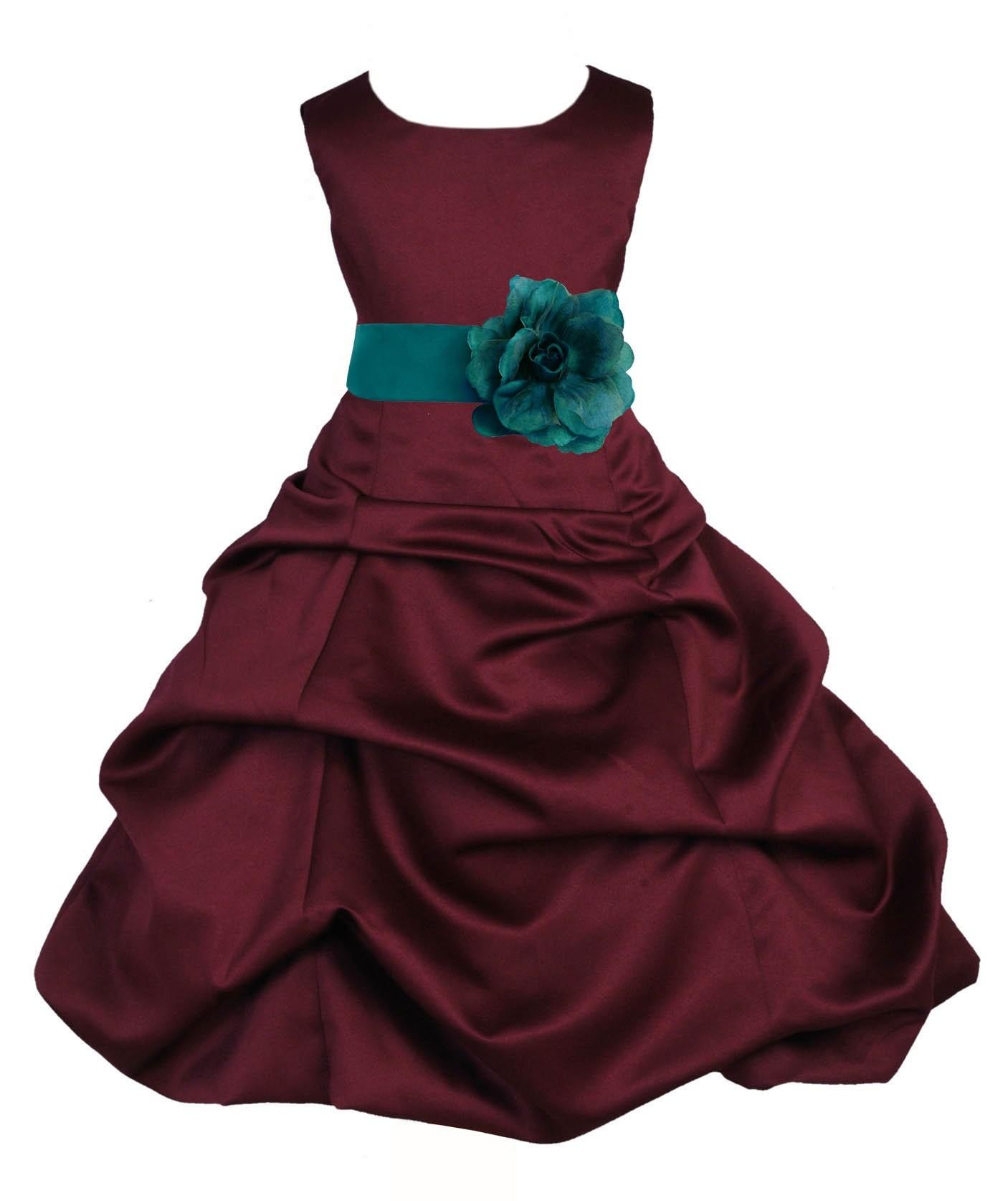 Burgundy/Oasis Satin Pick-Up Bubble Flower Girl Dress Event 808T