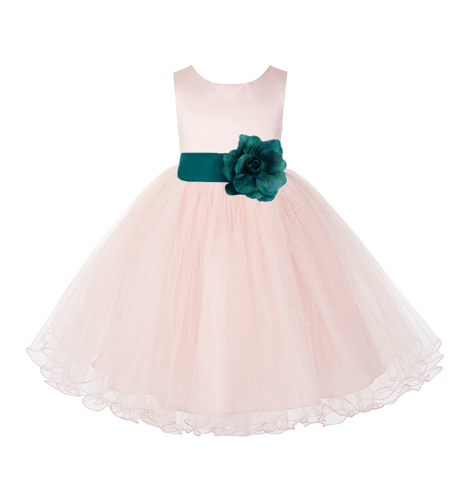 Blush Pink / Oasis Tulle Rattail Edge Flower Girl Dress Pageant Recital 829S