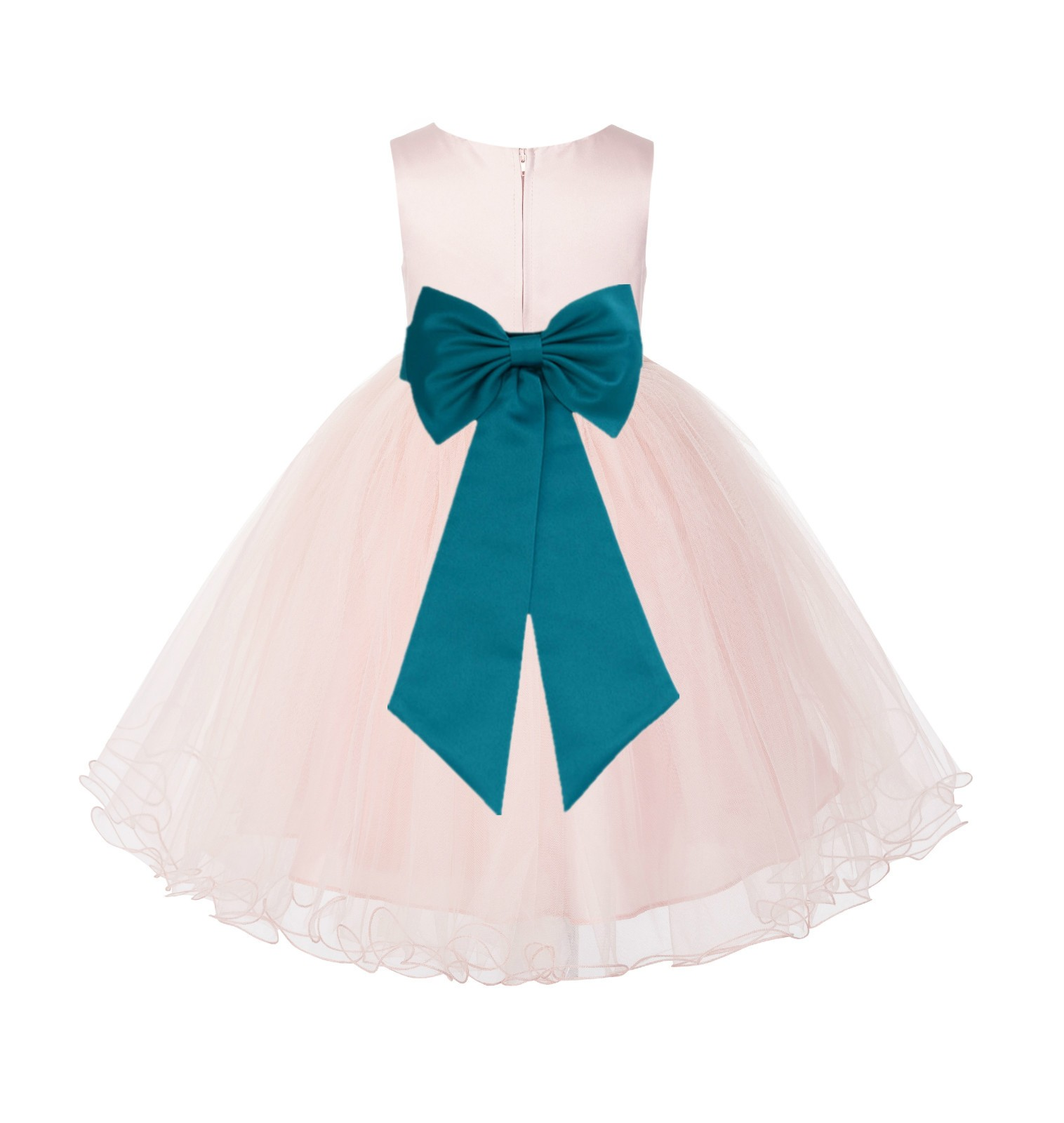 Blush PInk / Oasis Tulle Rattail Edge Flower Girl Dress Wedding Bridesmaid 829T