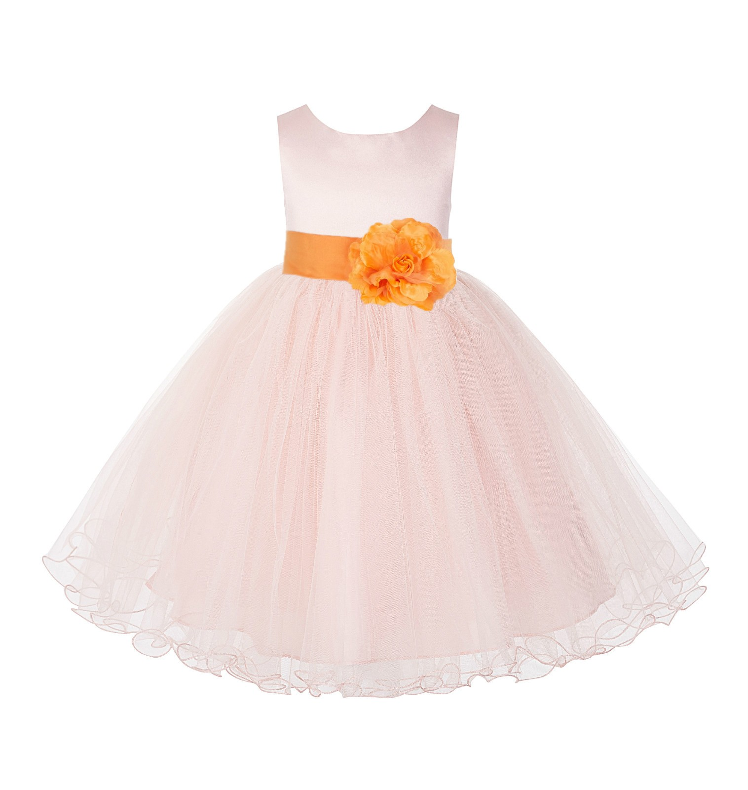 Blush Pink / Orange Tulle Rattail Edge Flower Girl Dress Pageant Recital 829S