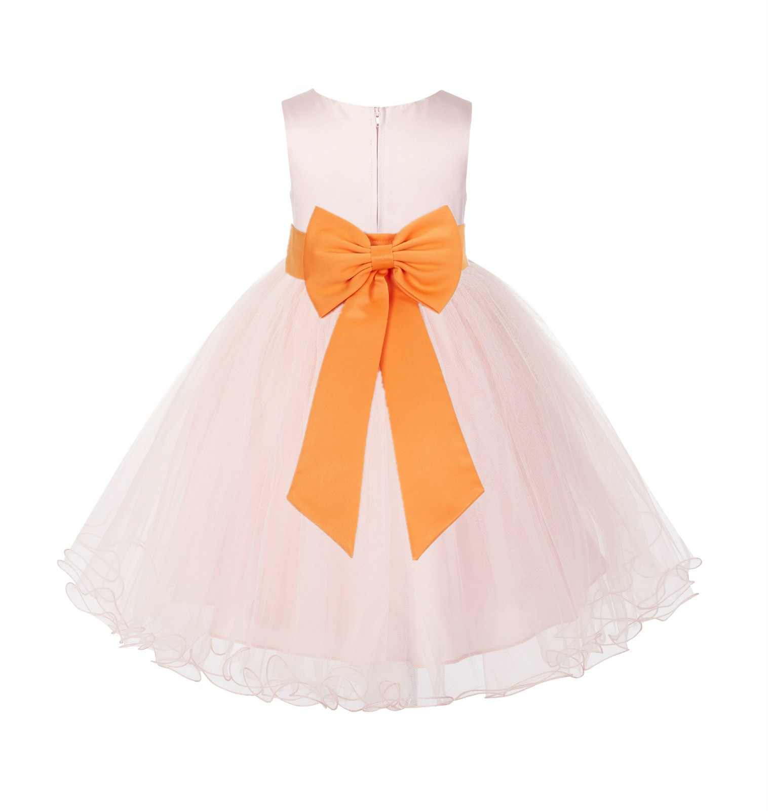 Blush PInk / Orange Tulle Rattail Edge Flower Girl Dress Wedding Bridesmaid 829T
