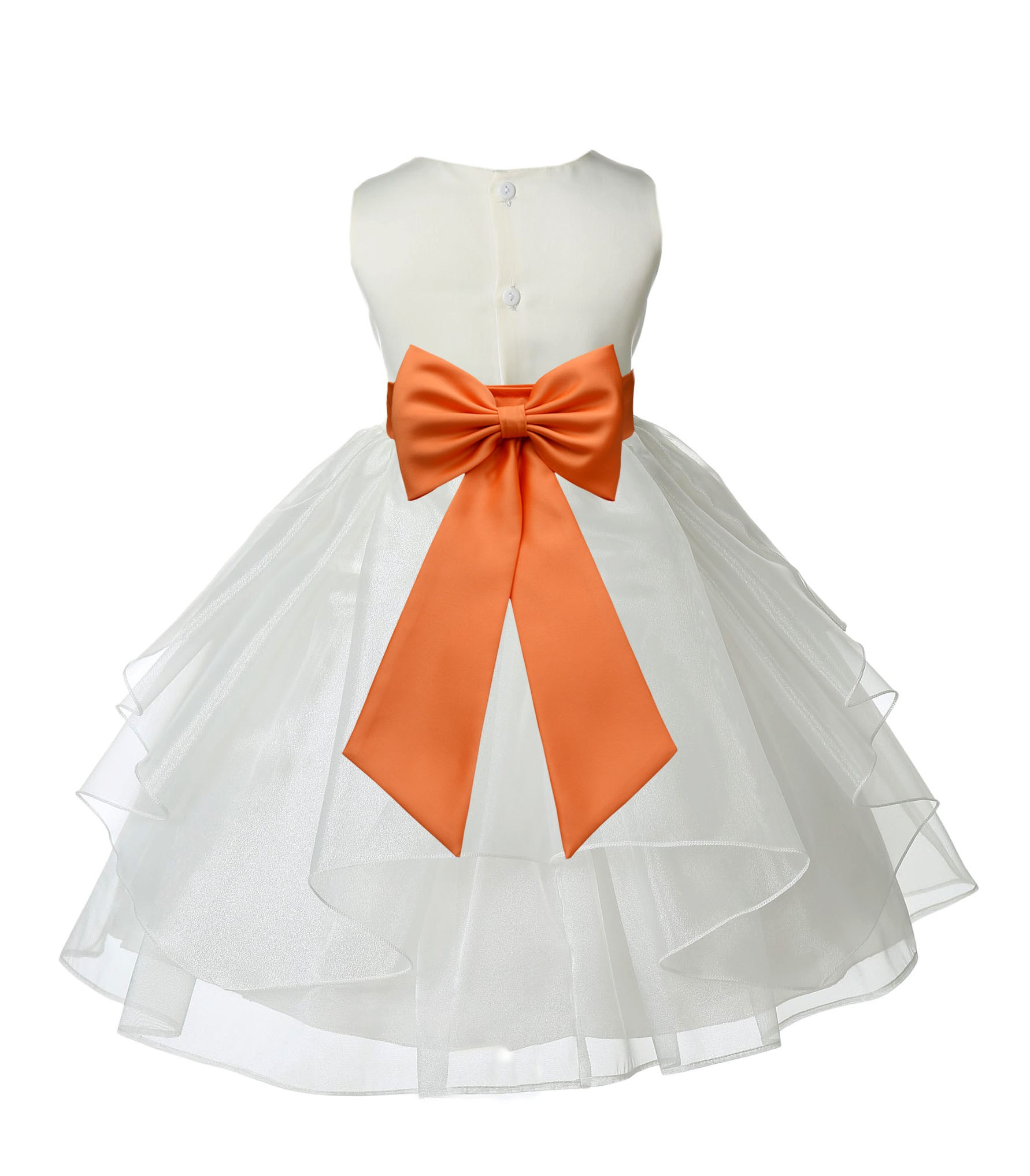 Ivoryorange Satin Shimmering Organza Flower Girl Dress Wedding
