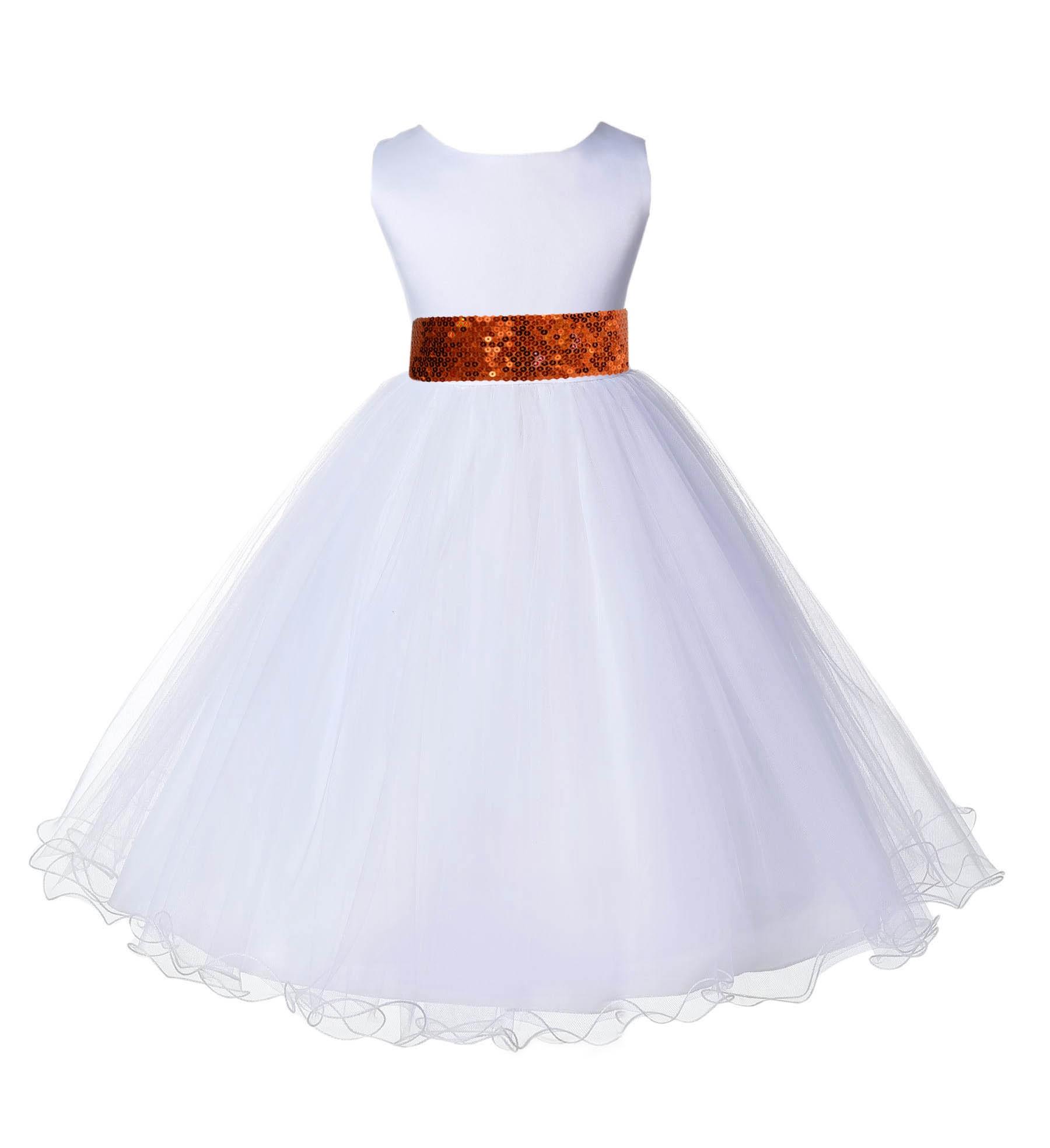 White Tulle Rattail Edge Orange Sequin Sash Flower Girl Dress 829mh