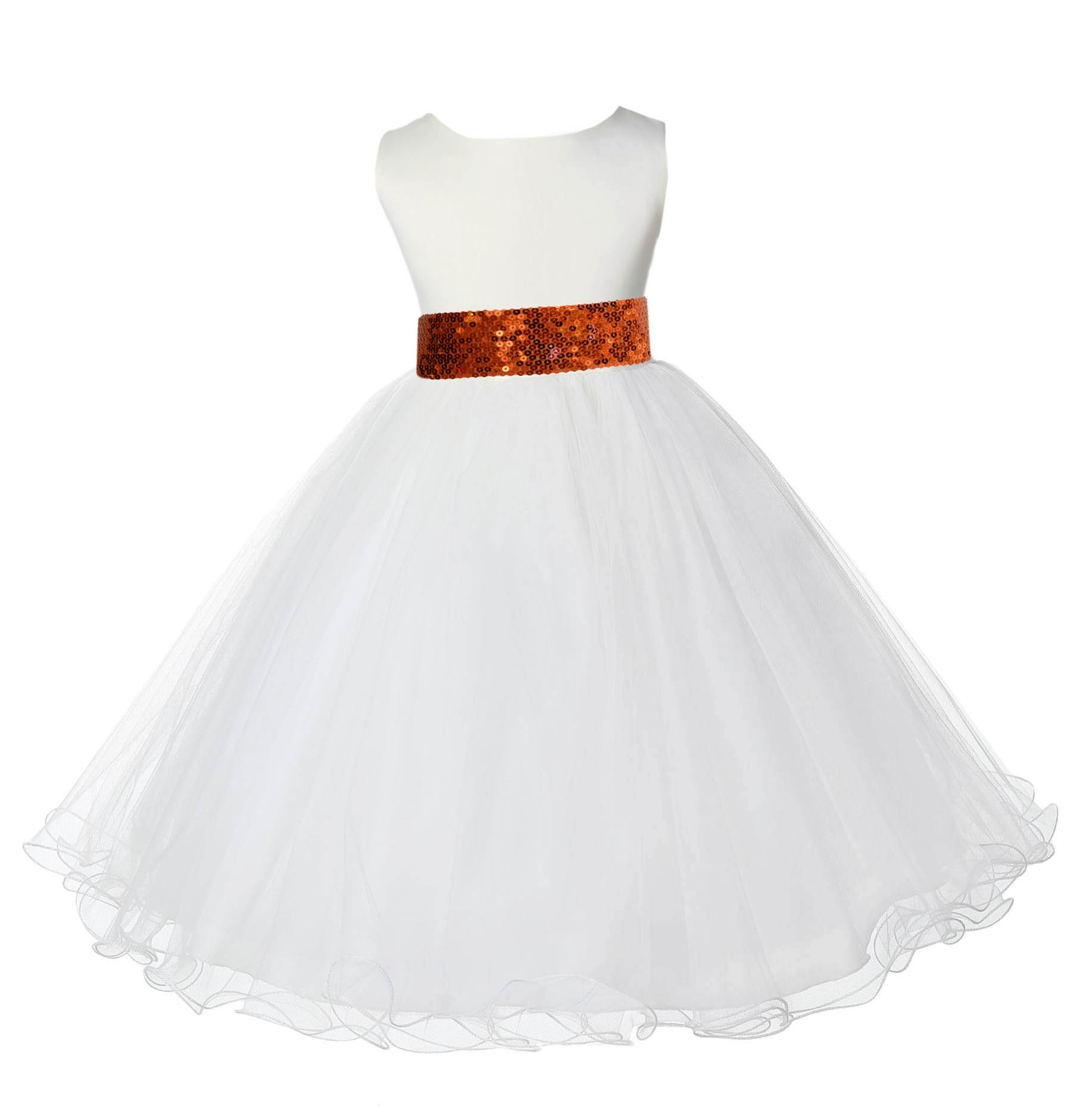 Ivory Tulle Rattail Edge Orange Sequin Sash Flower Girl Dress 829mh
