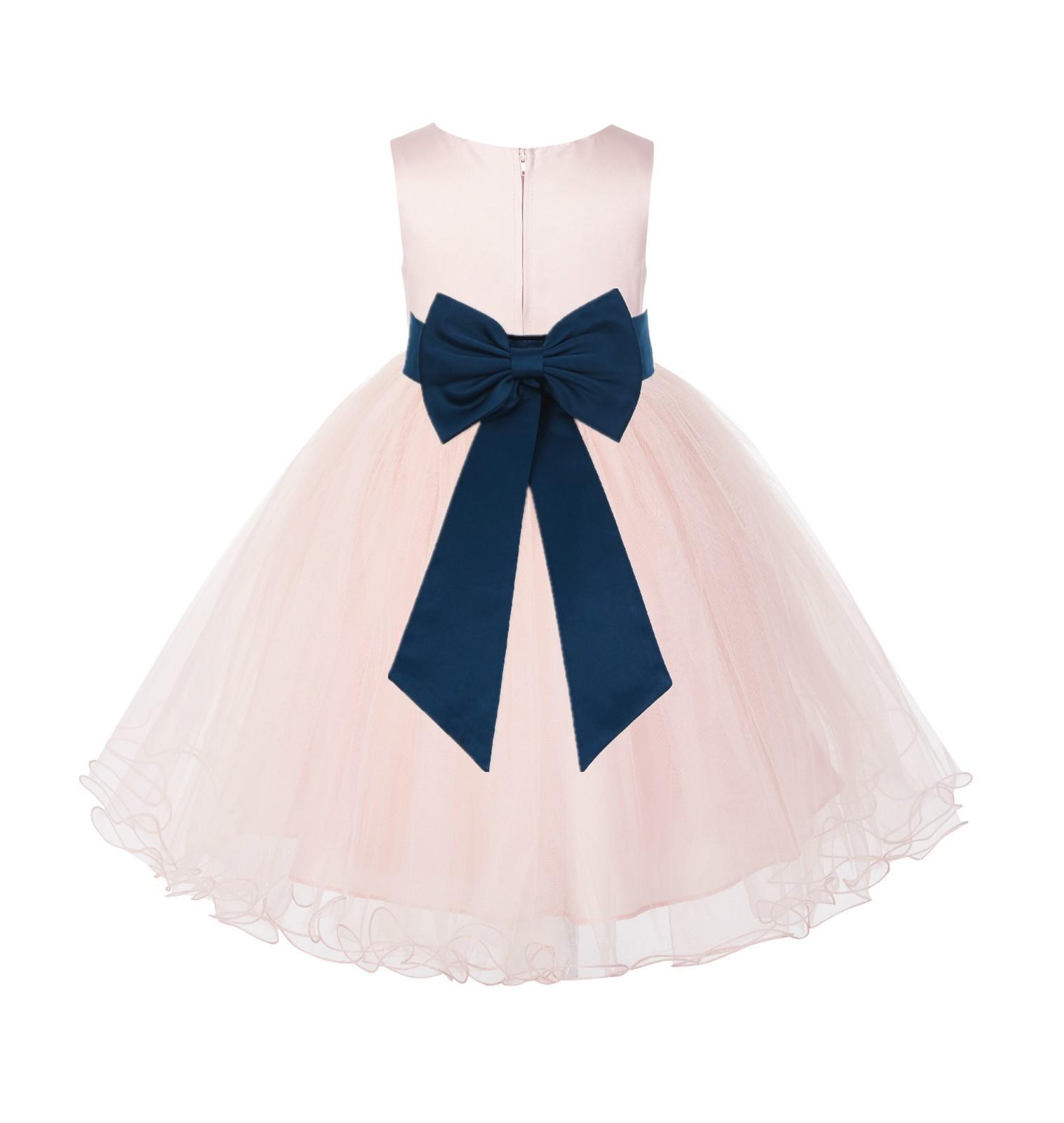 Blush PInk / Peacock Tulle Rattail Edge Flower Girl Dress Wedding Bridesmaid 829T