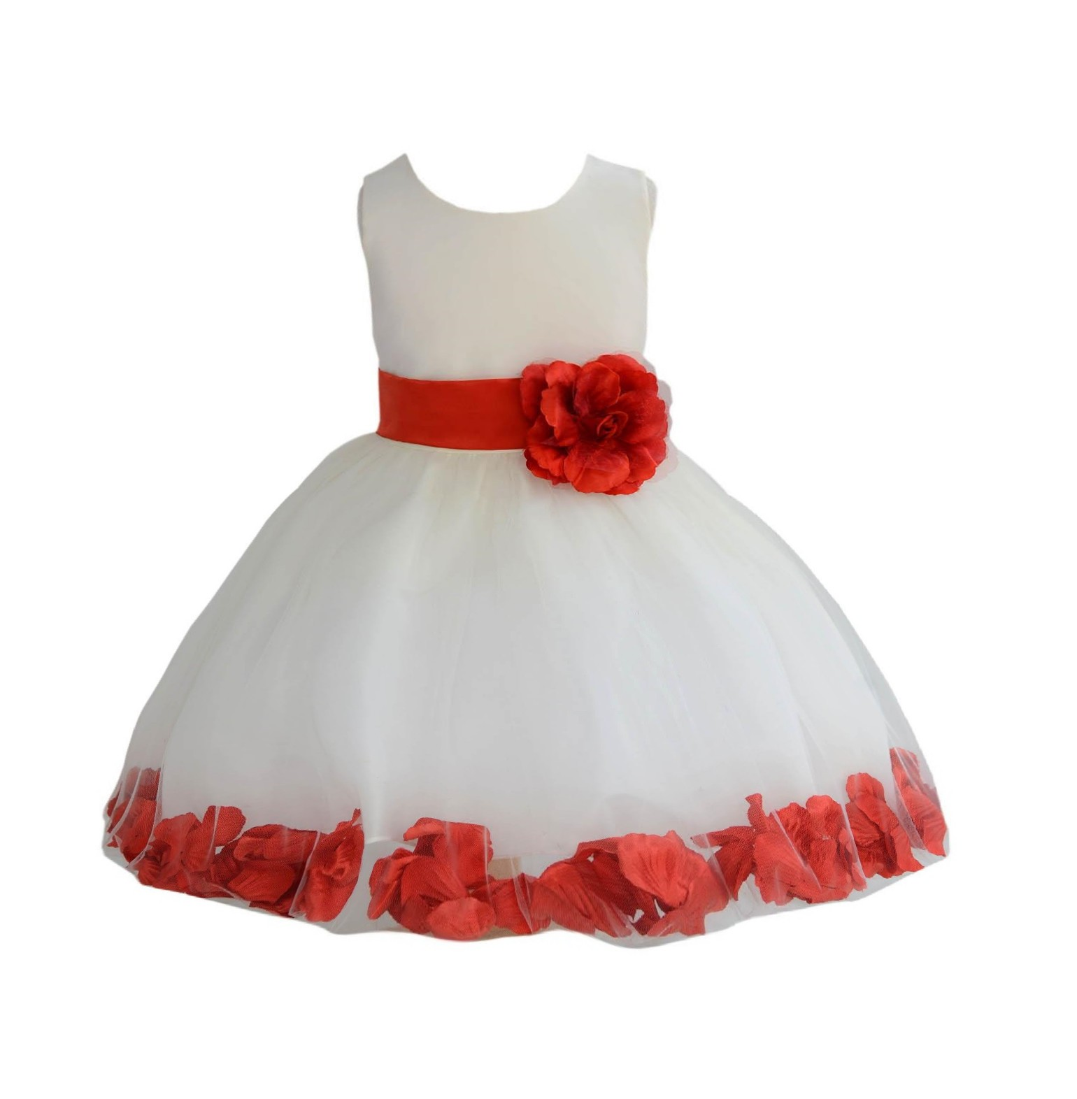 Ivory/ Persimmon Rose Petals Tulle Flower Girl Dress Pageant 305T