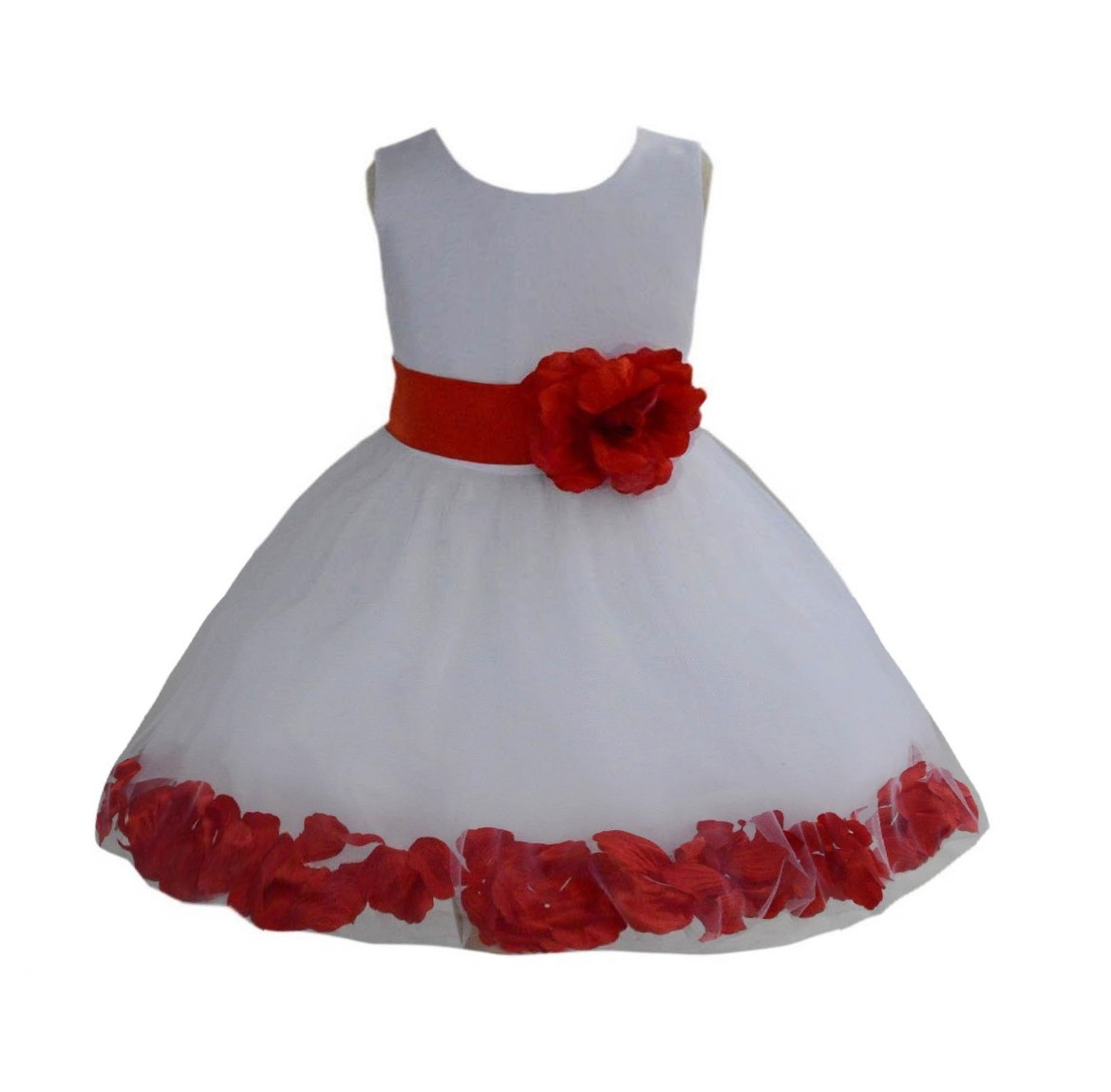 White/ Persimmon Rose Petals Tulle Flower Girl Dress Wedding 305T