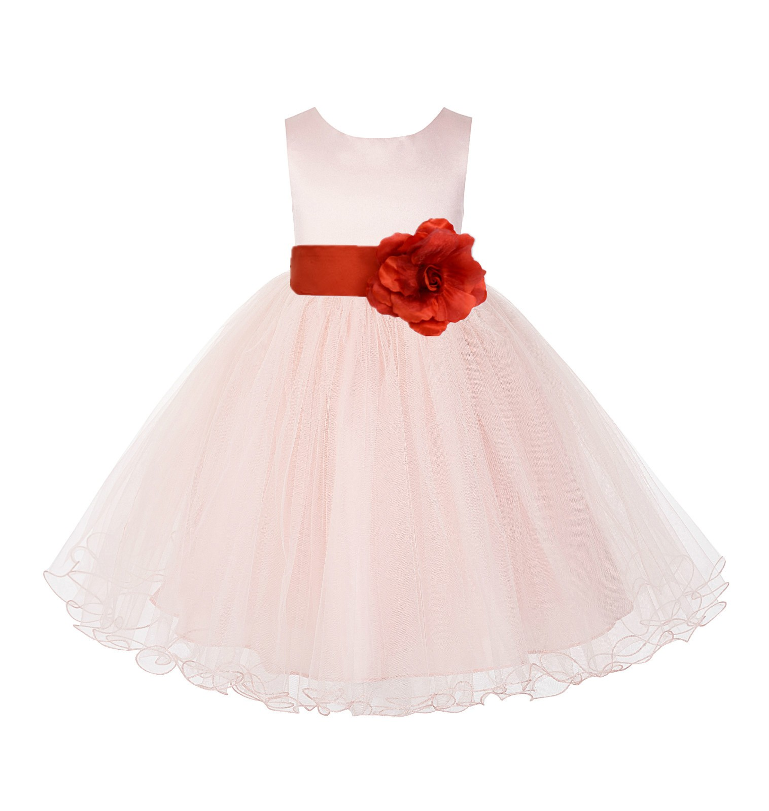 Blush PInk / Persimmon Tulle Rattail Edge Flower Girl Dress Wedding Bridesmaid 829T