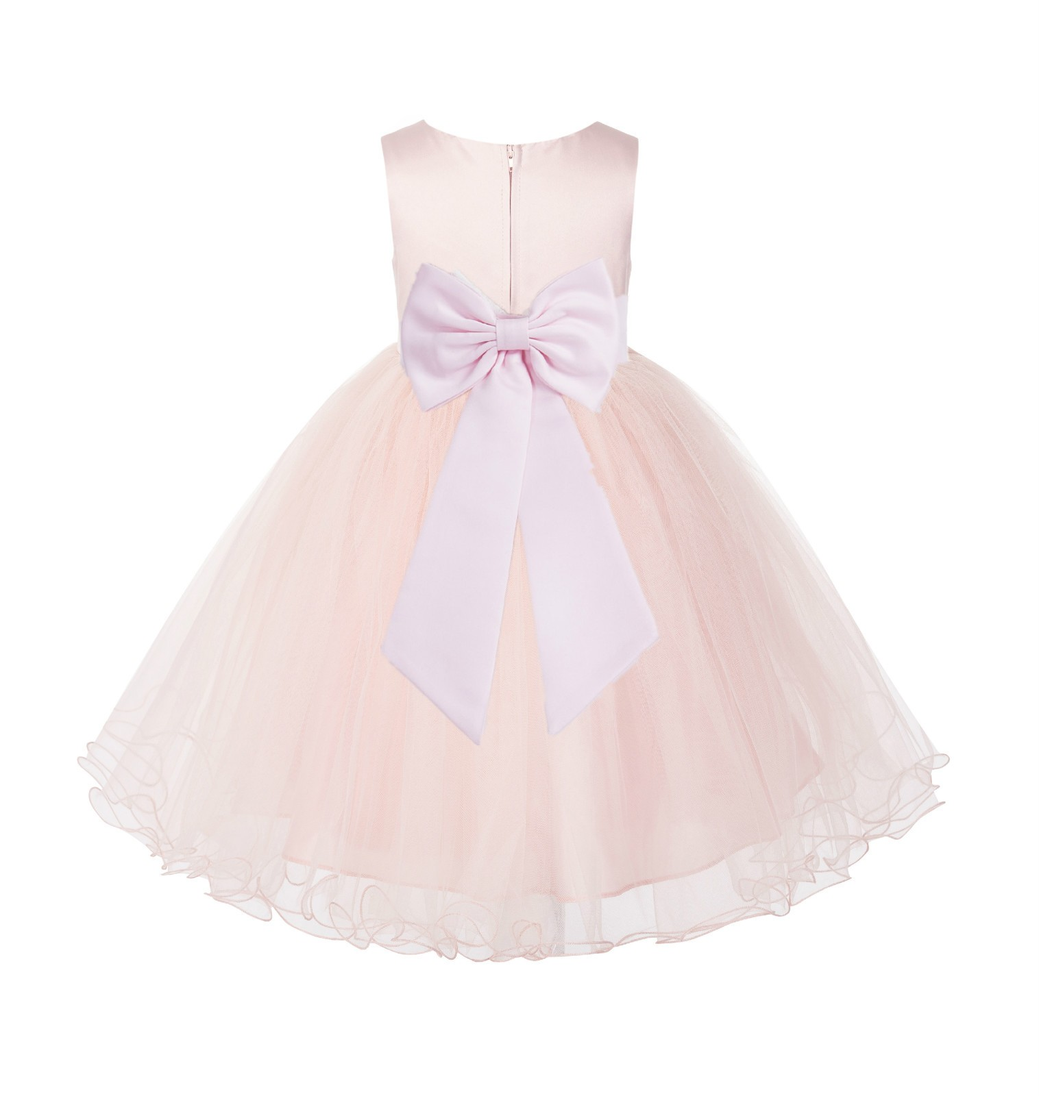Blush PInk / Pink Tulle Rattail Edge Flower Girl Dress Wedding Bridesmaid 829T