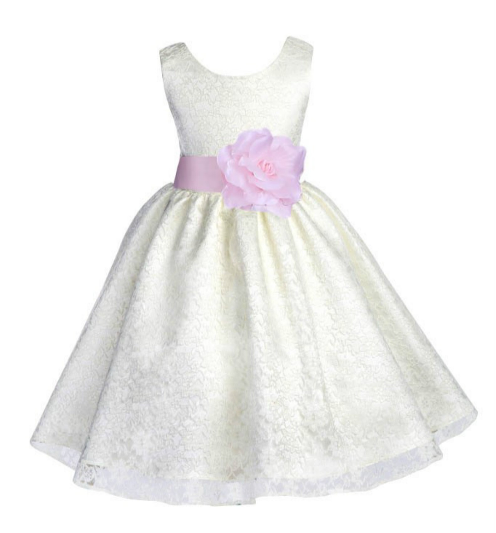 Ivory/Pink Floral Lace Overlay Flower Girl Dress Special Event 163S