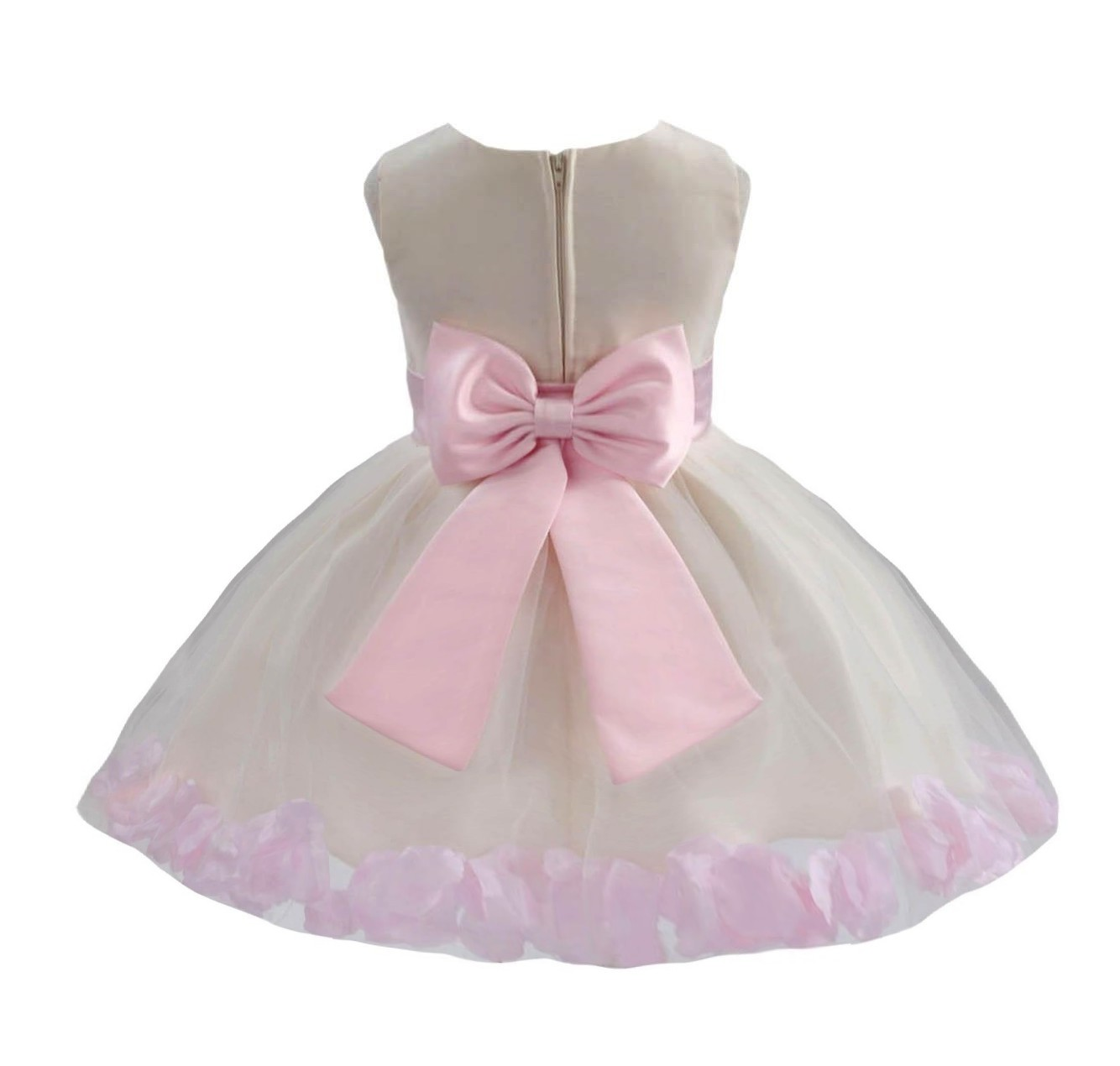 Ivory/ Pink Rose Petals Tulle Flower Girl Dress Pageant 305T