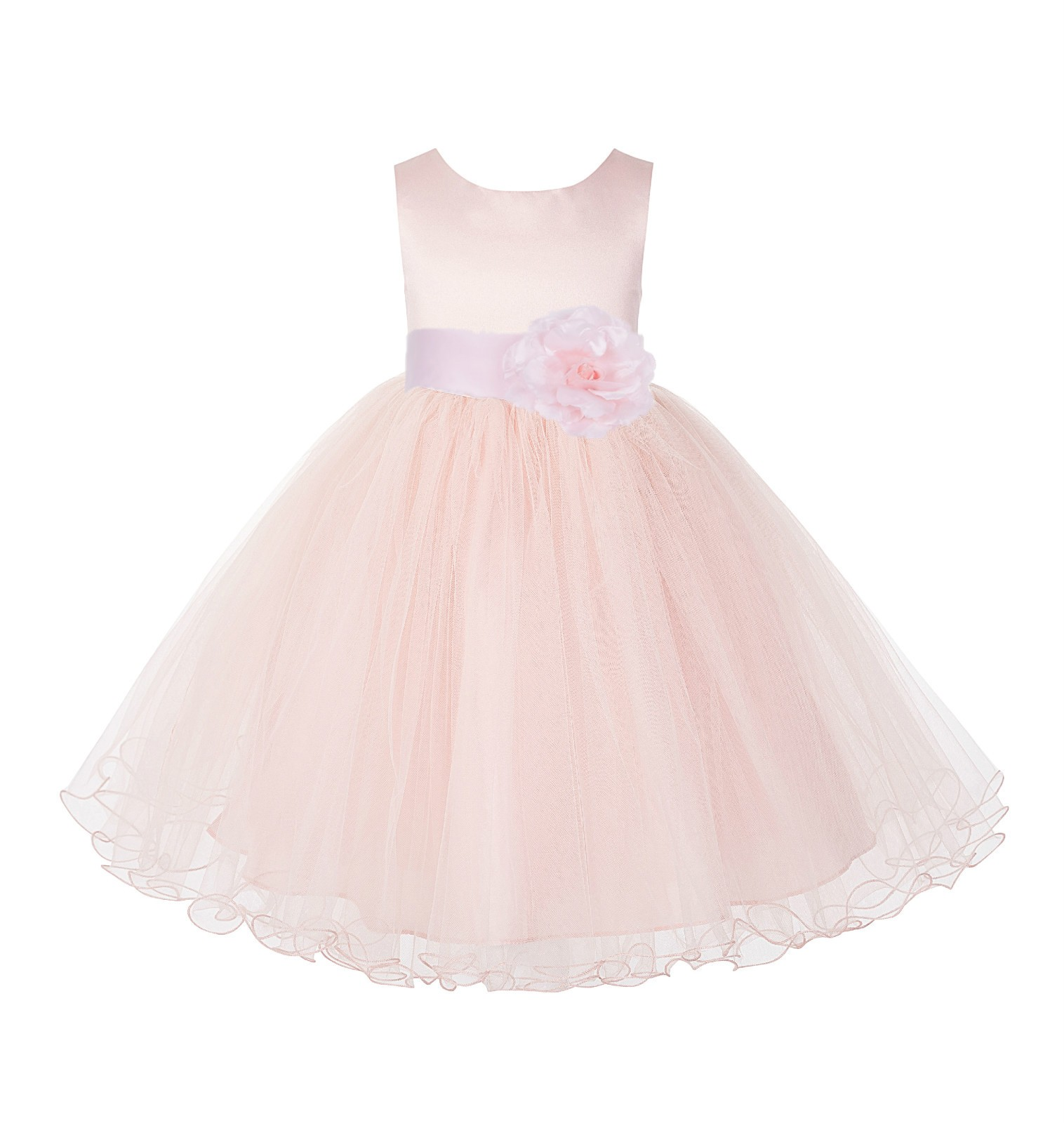 Blush Pink / Pink Tulle Rattail Edge Flower Girl Dress Pageant Recital 829S
