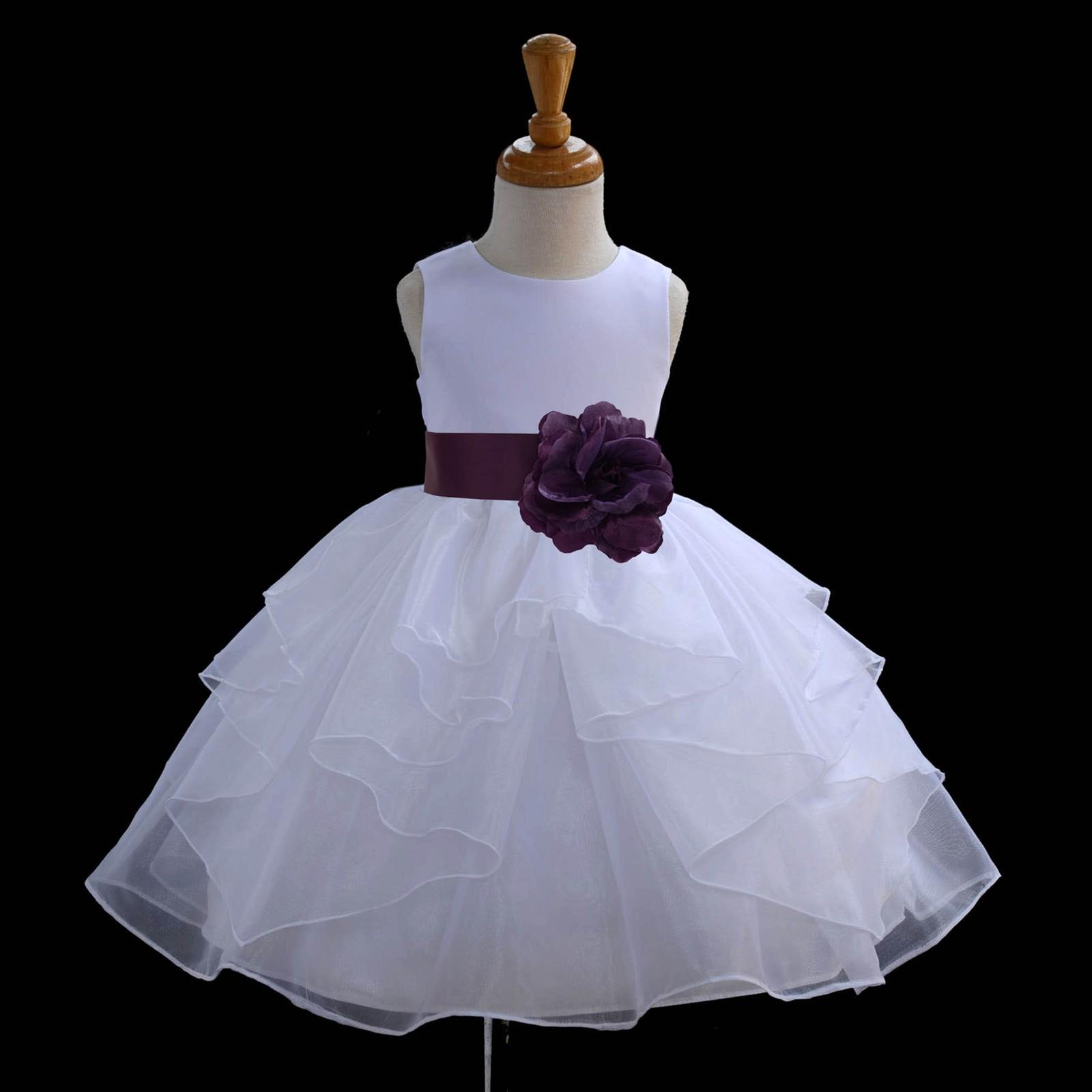 White/Plum Satin Shimmering Organza Flower Girl Dress Wedding 4613S