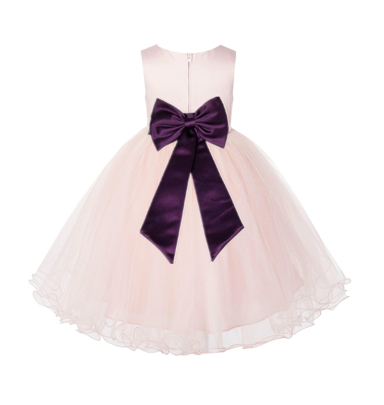Blush PInk / Plum Tulle Rattail Edge Flower Girl Dress Wedding Bridesmaid 829T
