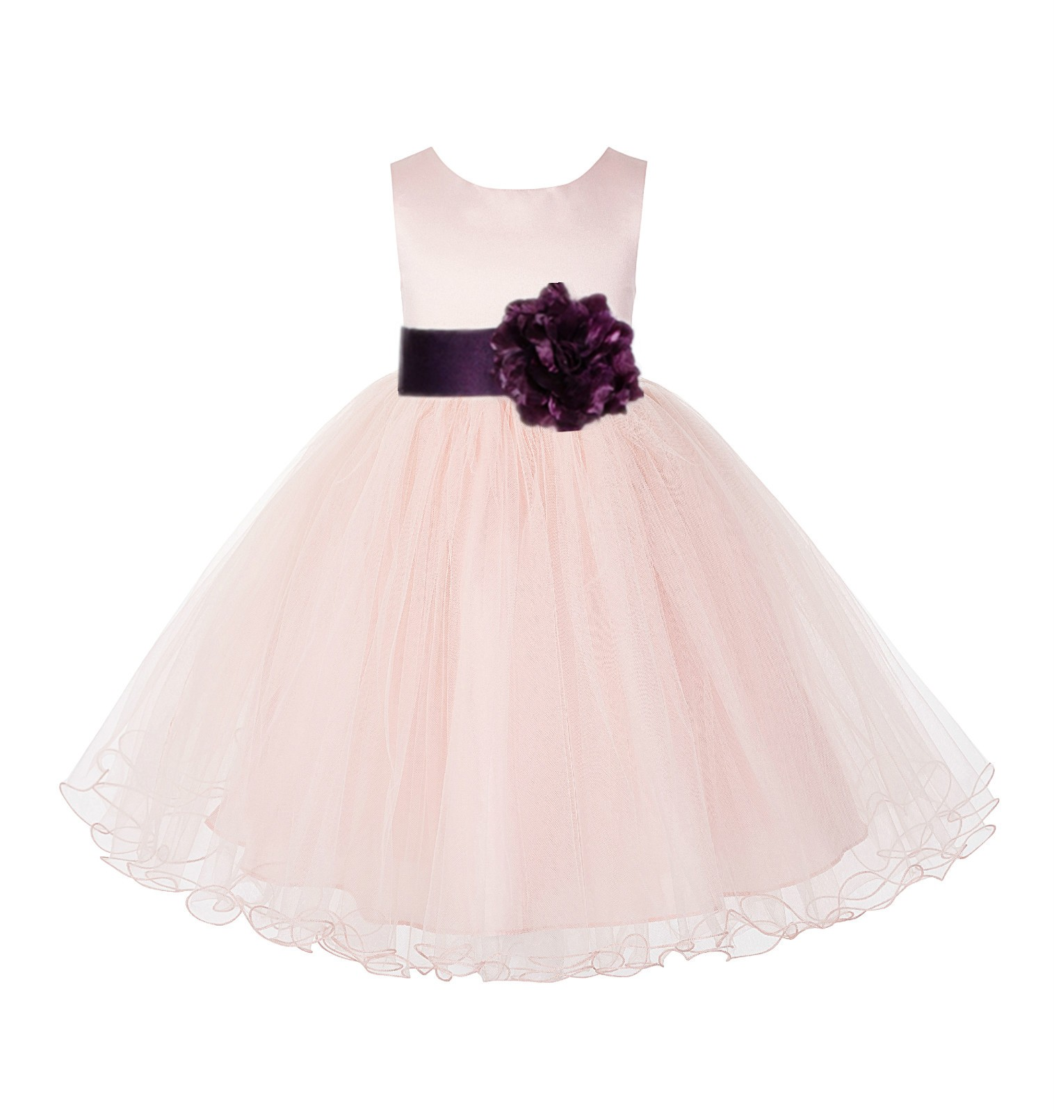 Blush Pink / Plum Tulle Rattail Edge Flower Girl Dress Pageant Recital 829S