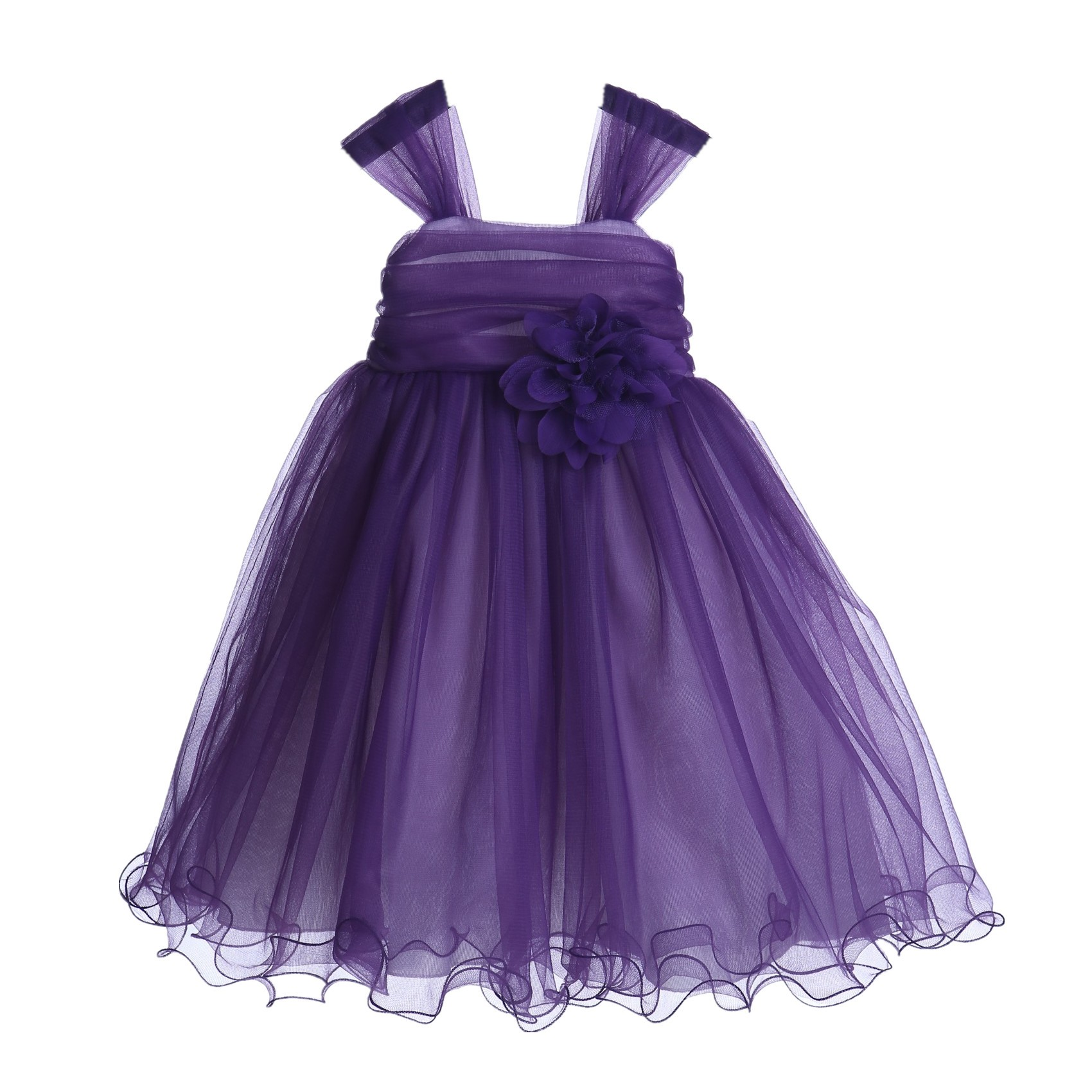 Purple Rattail Edge Tulle Flower Girl Dress Pretty Princess 117NF